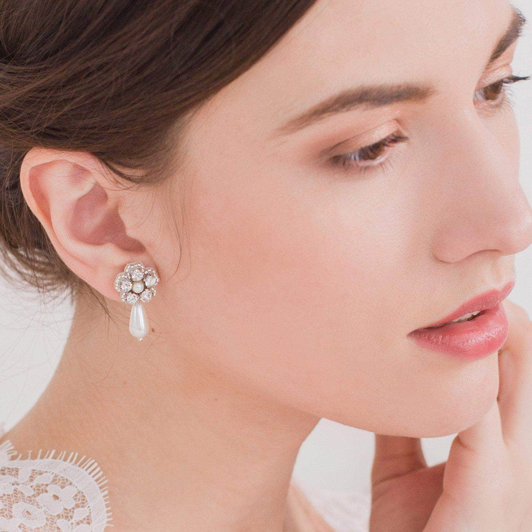 silver wedding crystal flower earrings