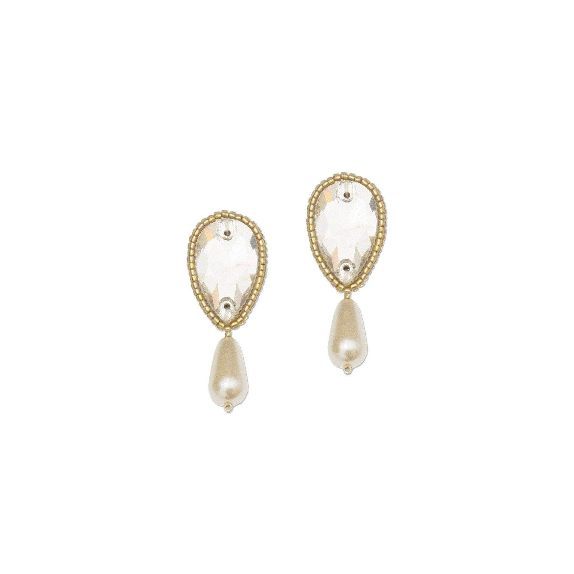 Wedding Earring Gold Drop wedding earrings gold, crystal & pearl - 'Isla'