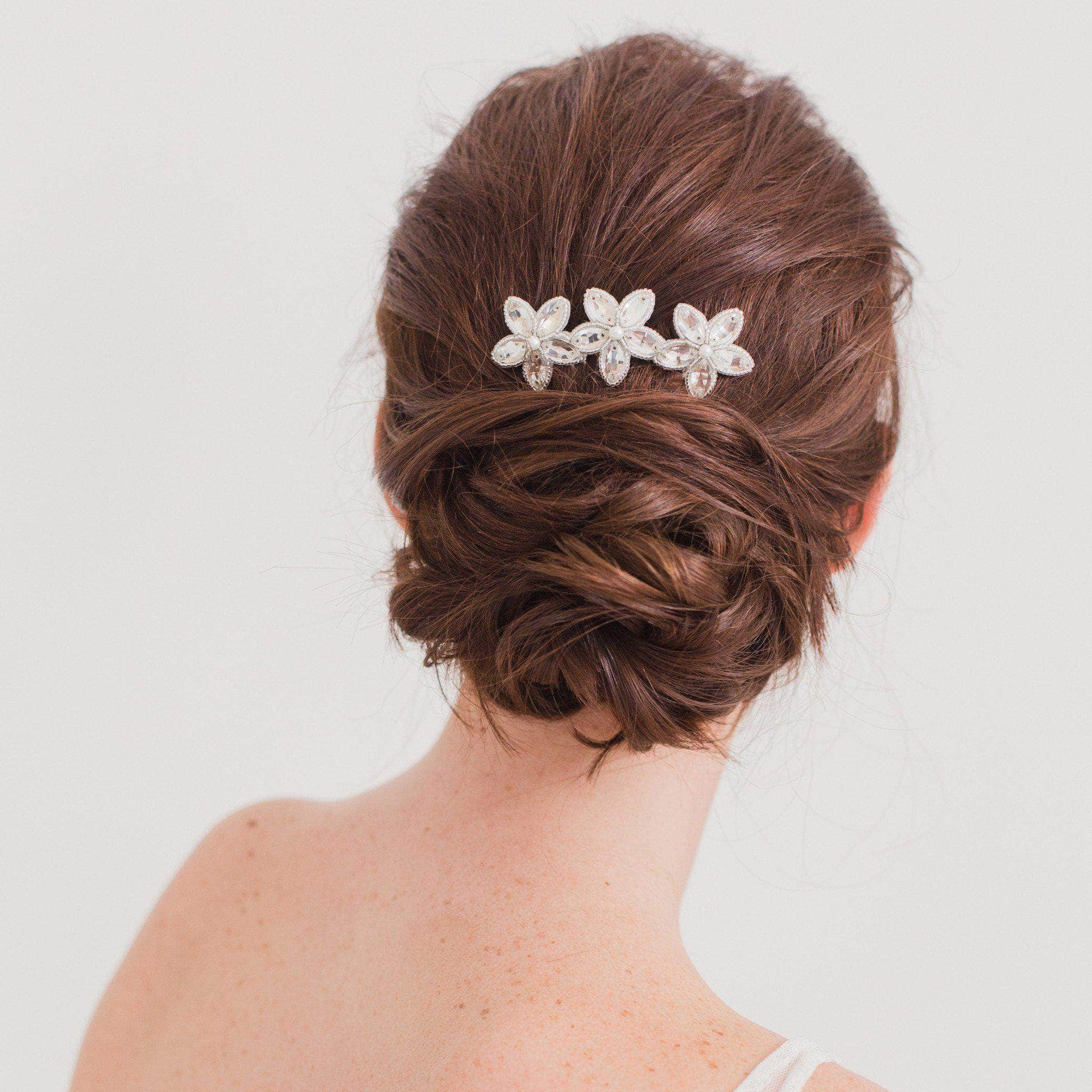 bridal hair comb with a floral arrangement of crystals and pearls ella wedding hair combs silver wedding hair comb