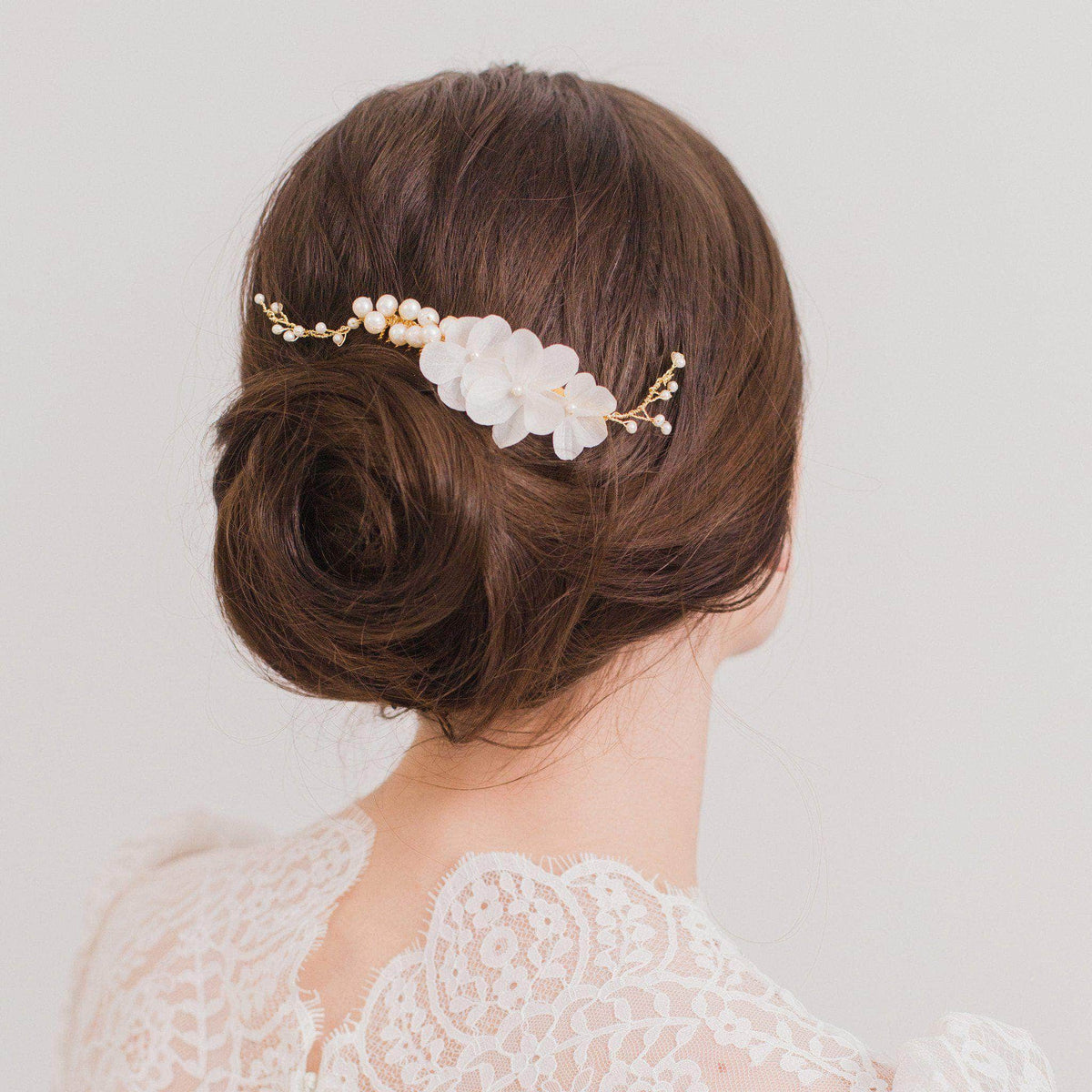 Silk flower silver comb for a bride - 'Helvia'