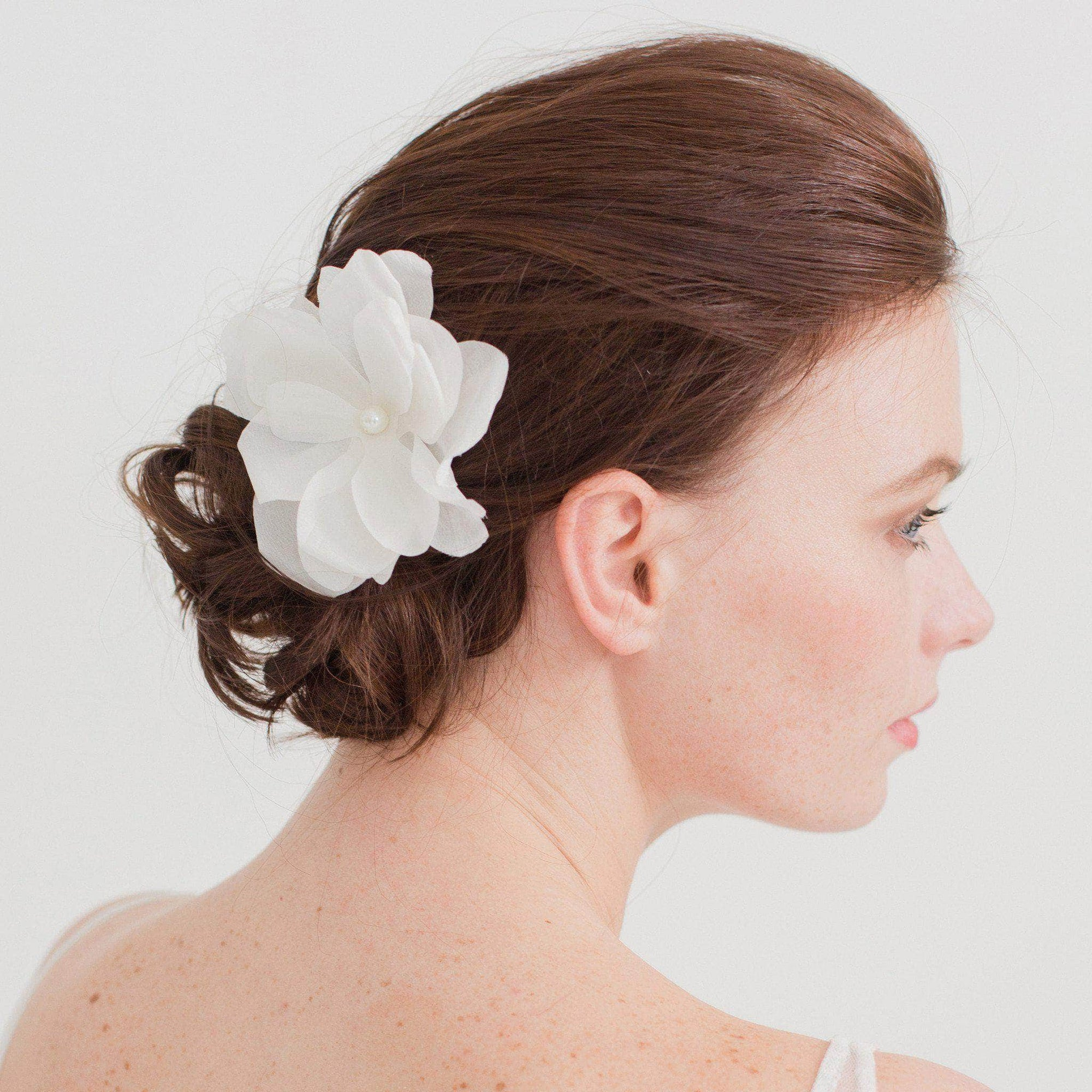 Wedding Haircomb Silver Silk flower hair comb - 'Io'