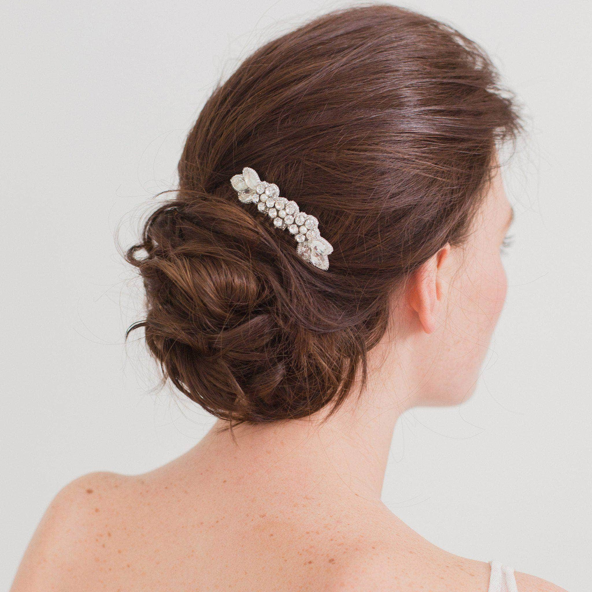 Silver wedding hair comb with super sparkle centre - 'Livia' | Britten Weddings