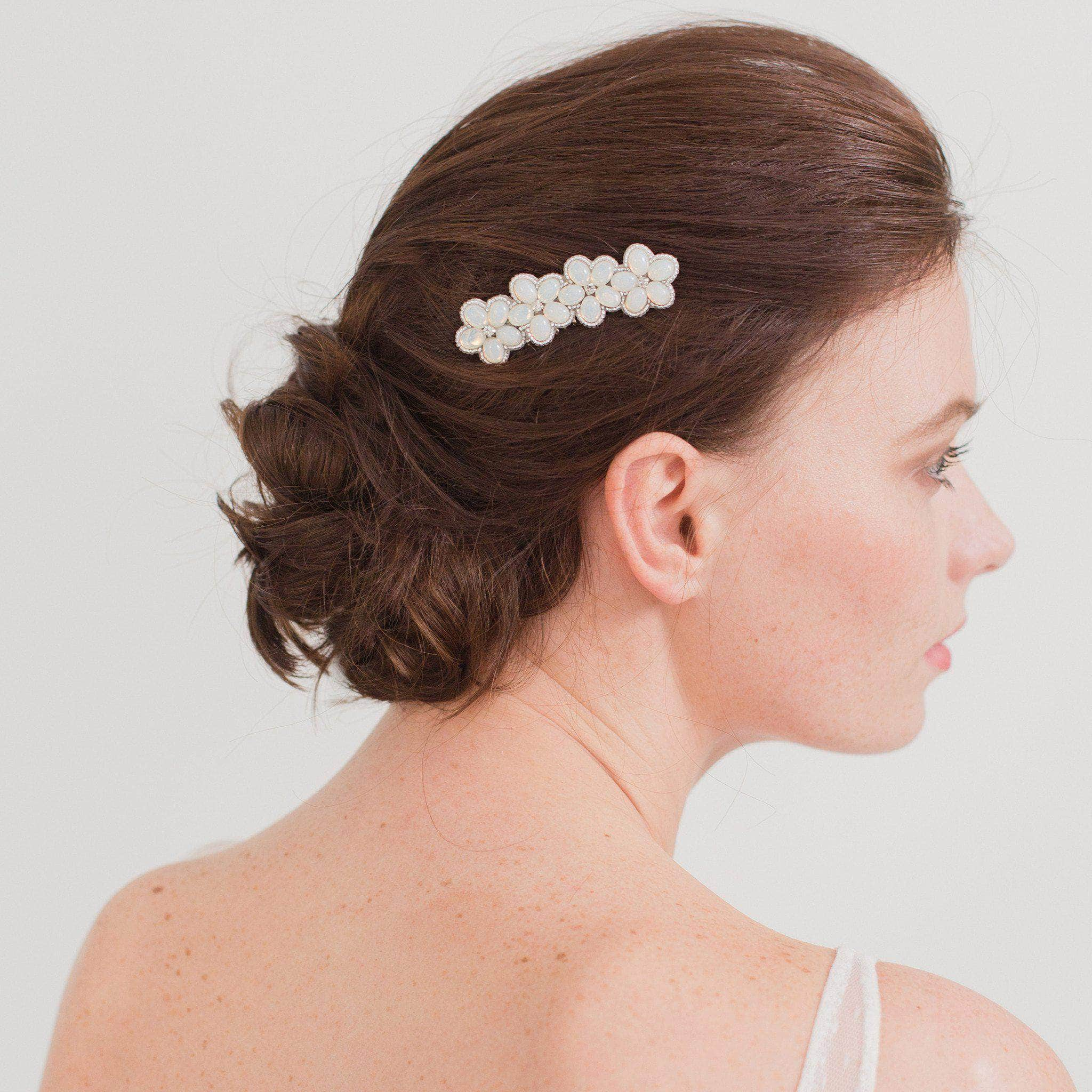 crystal and opal wedding hair comb