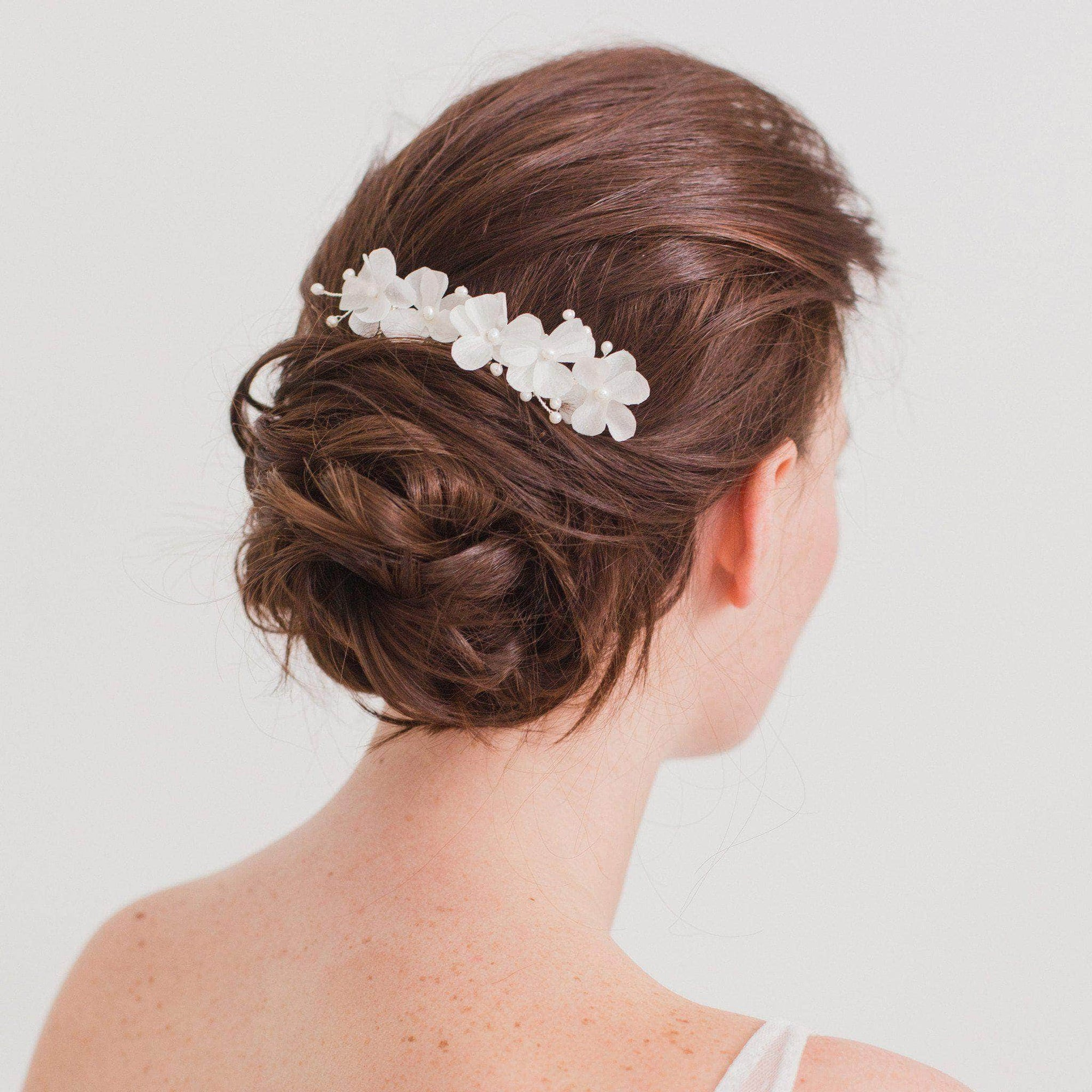 Wedding Haircomb Silver Silk flower comb for a bride - 'Sulis'