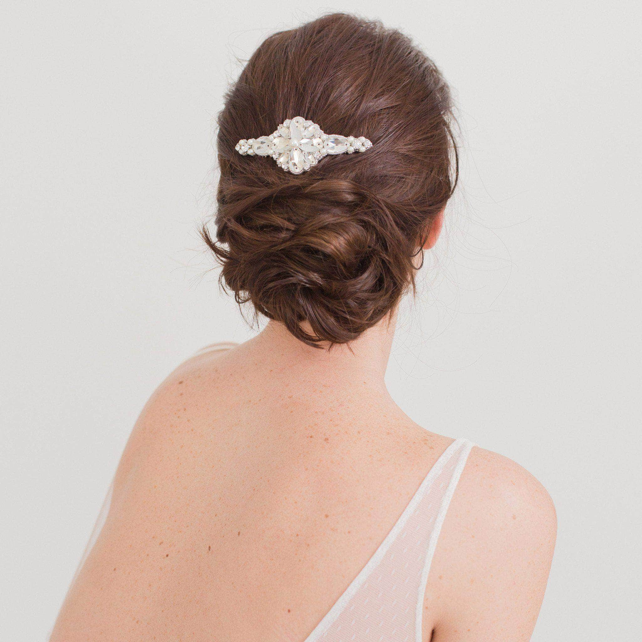 Silver crystal wedding hair comb