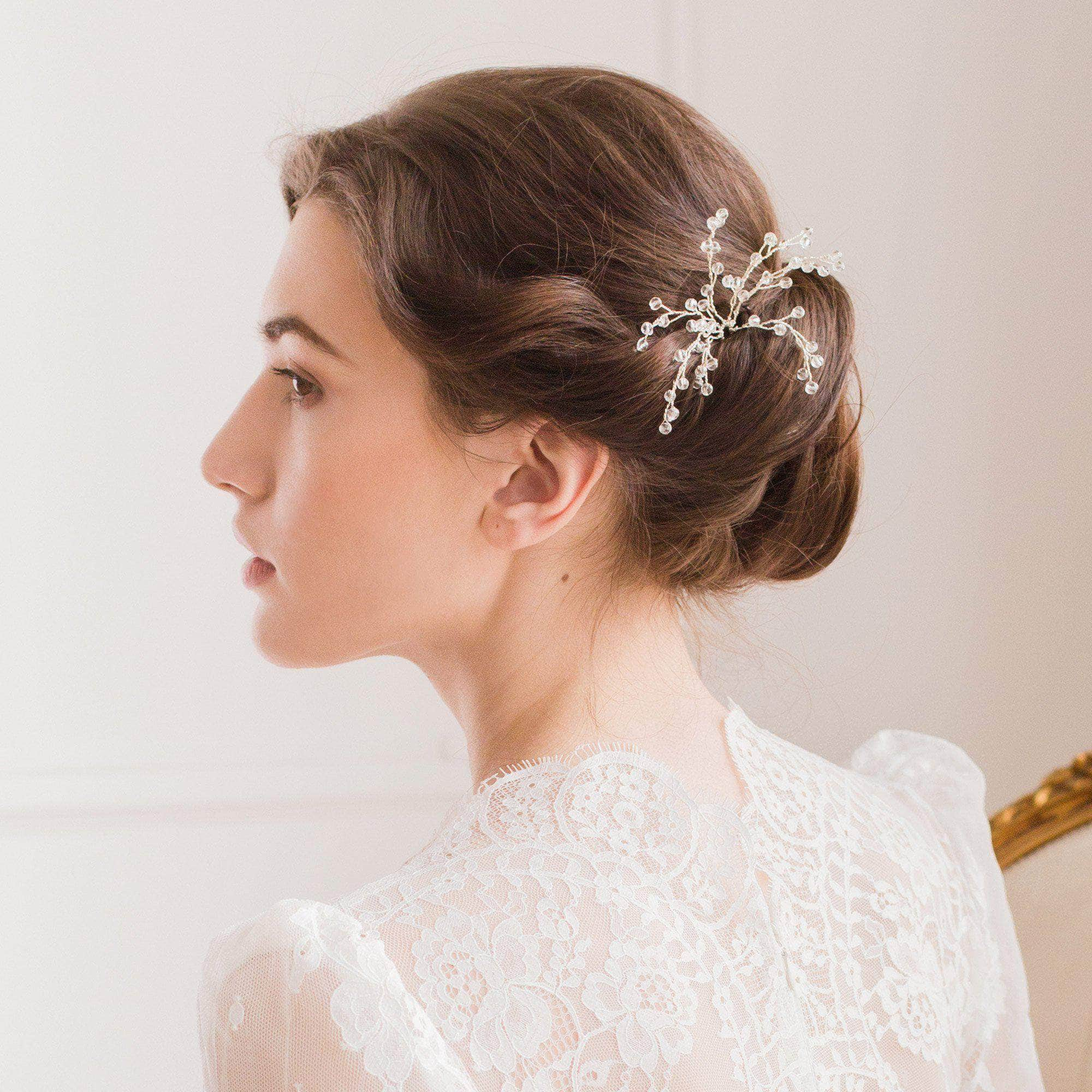 Silver wedding hair pin with crystal spray - 'Eden' | Britten Weddings