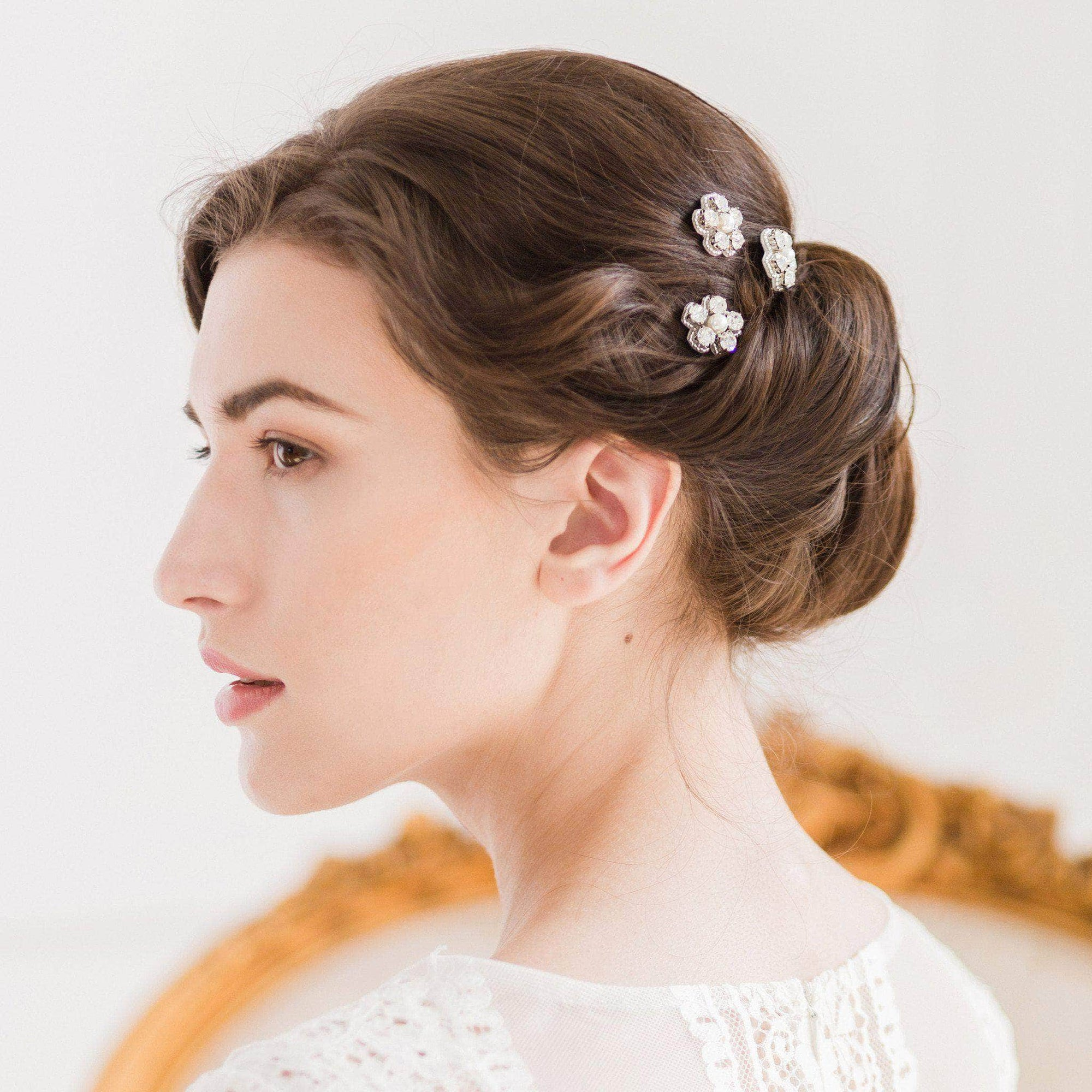 Wedding Hairpin Silver flower wedding hair pins in crystal and pearl (x3) - 'Ema'