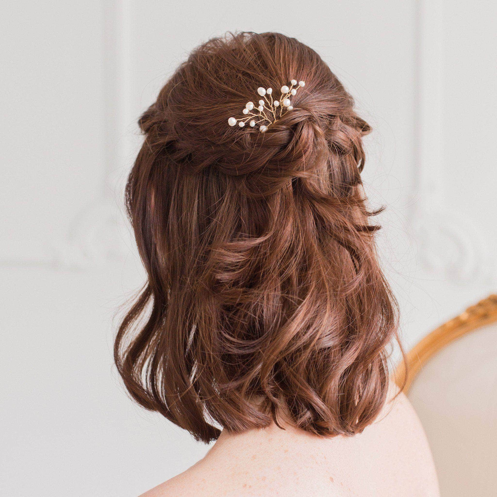 Wedding Hair Pins Gold With Freshwater Pearl Spray X3 Eve