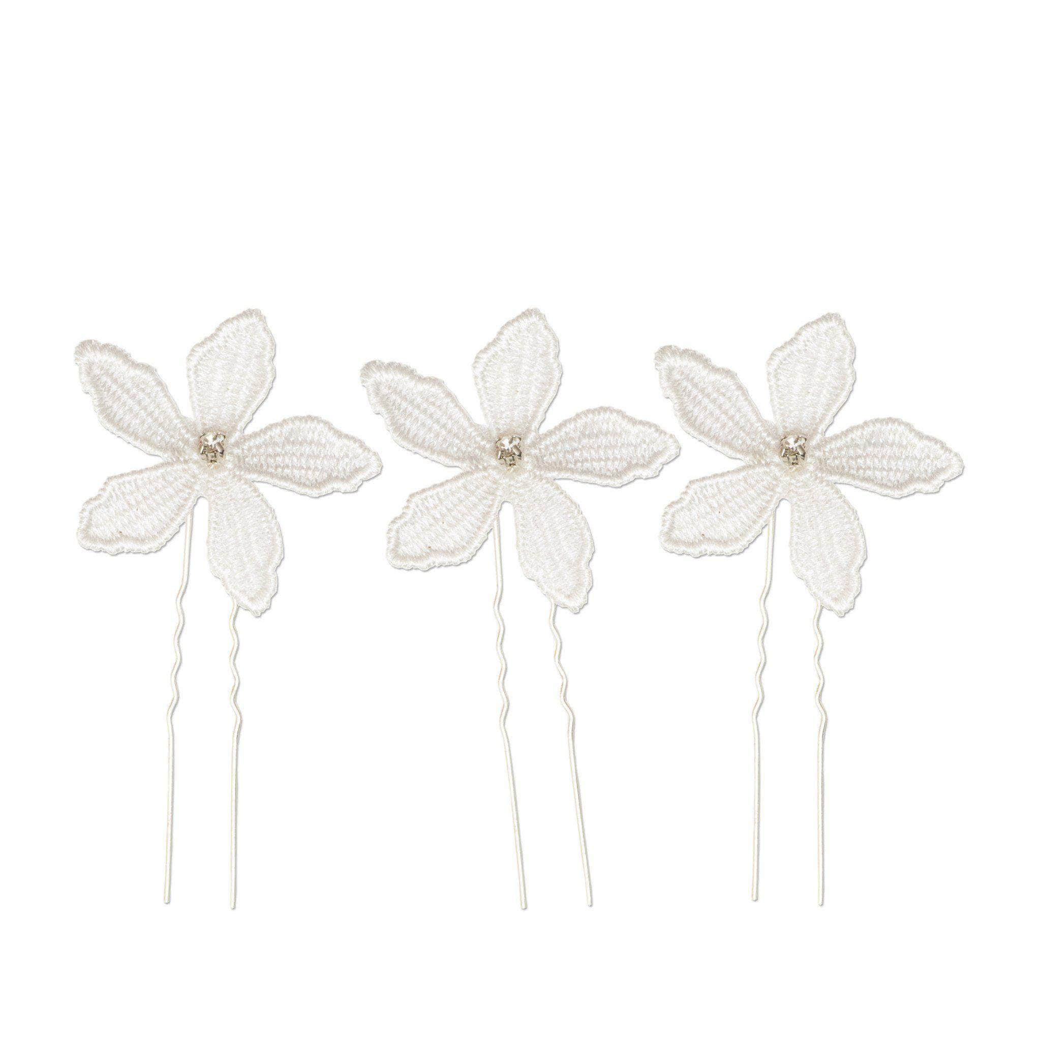 Flower wedding hair pins silver (x3)
