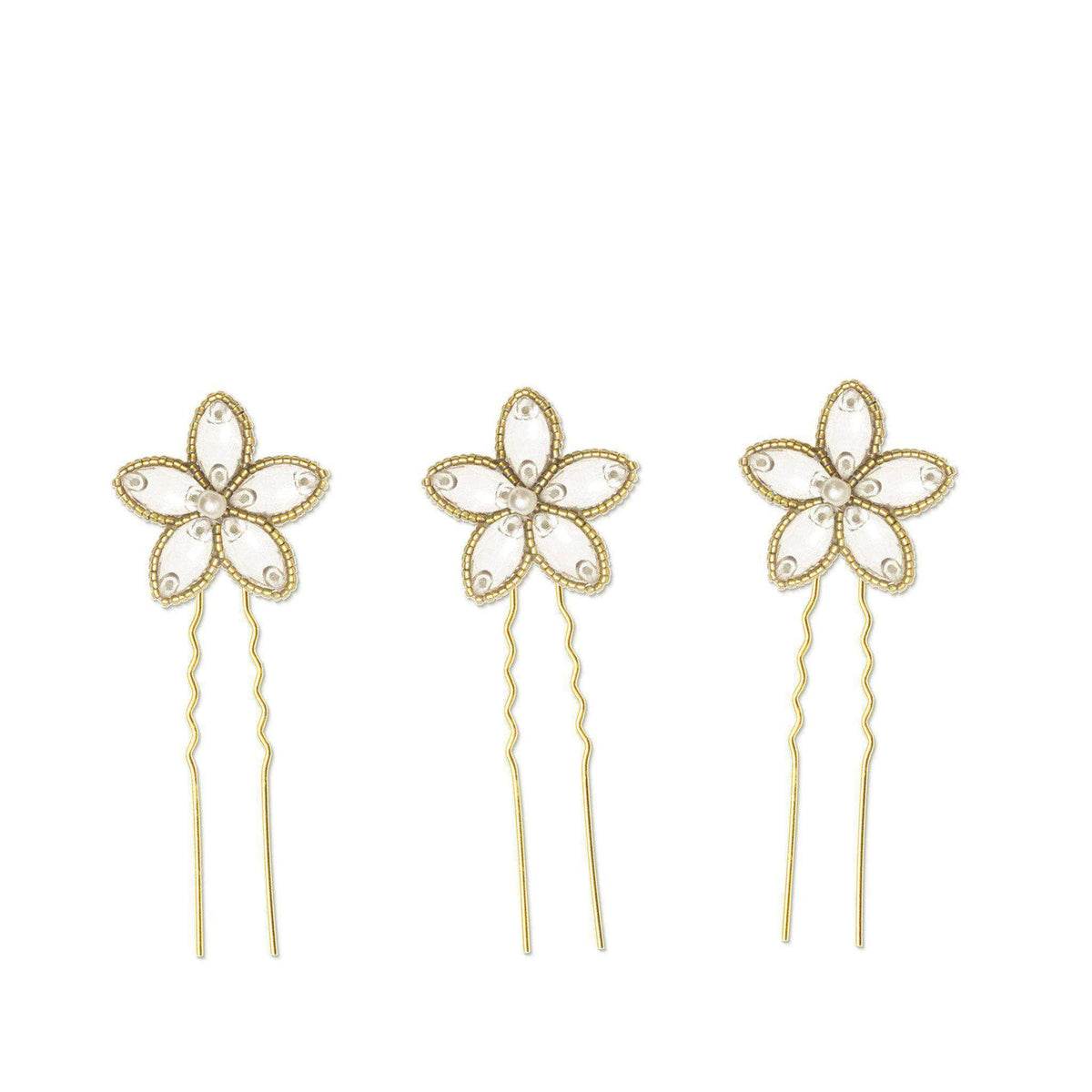 gold wedding flower hair pins