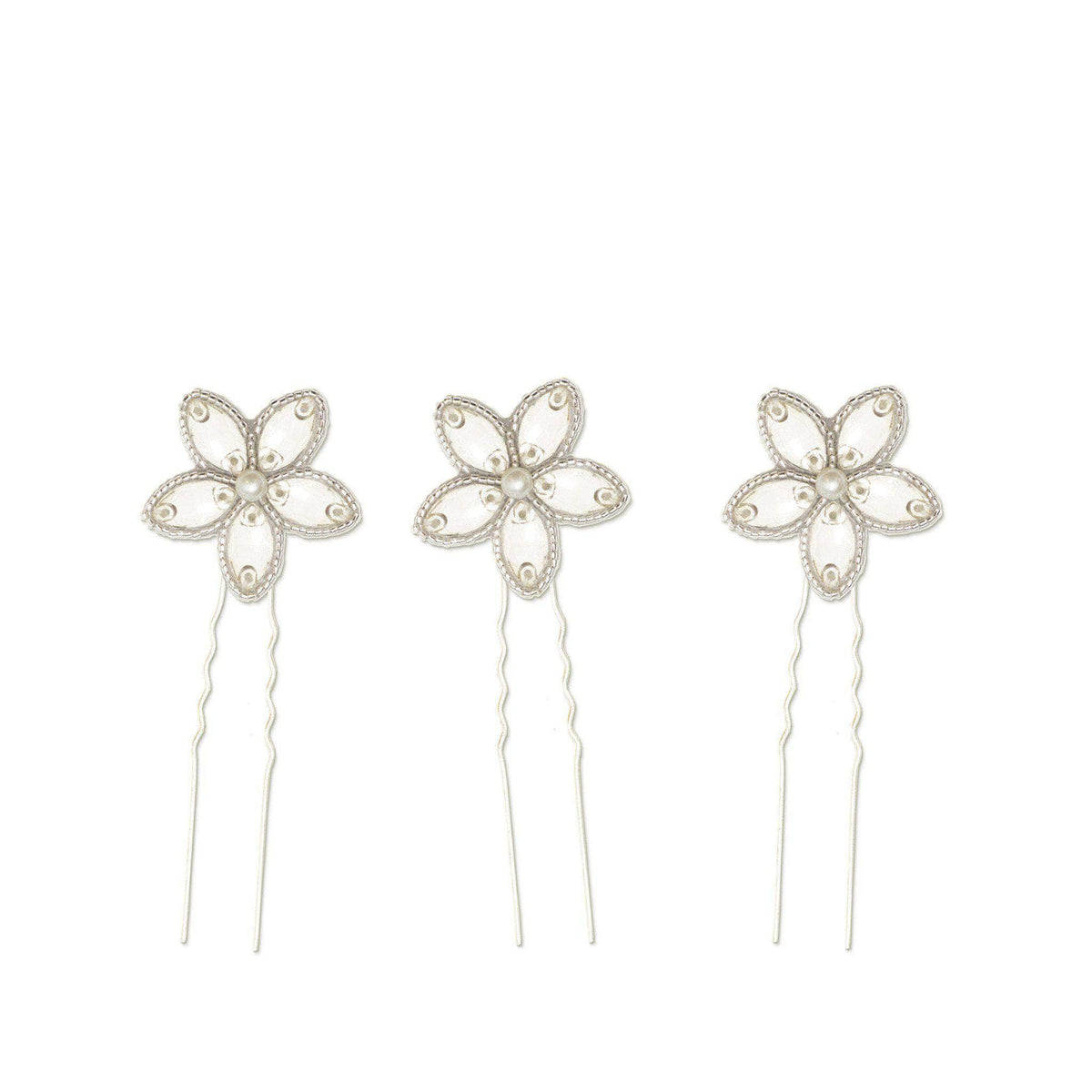 Silver wedding hair pins with crystal flower (x3) - 'Lena'