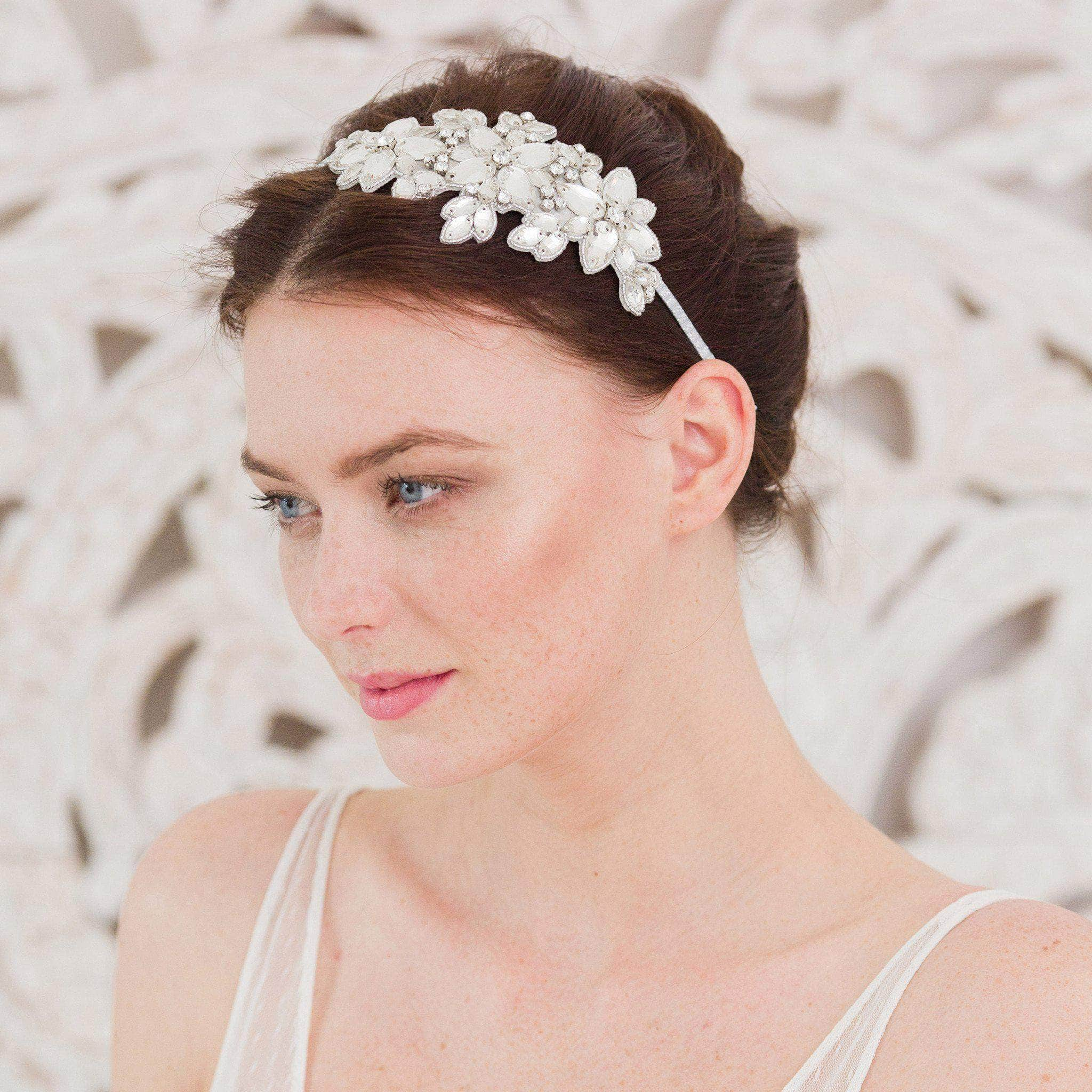 Statement crystal wedding headband silver 'Laurie' | Britten Weddings