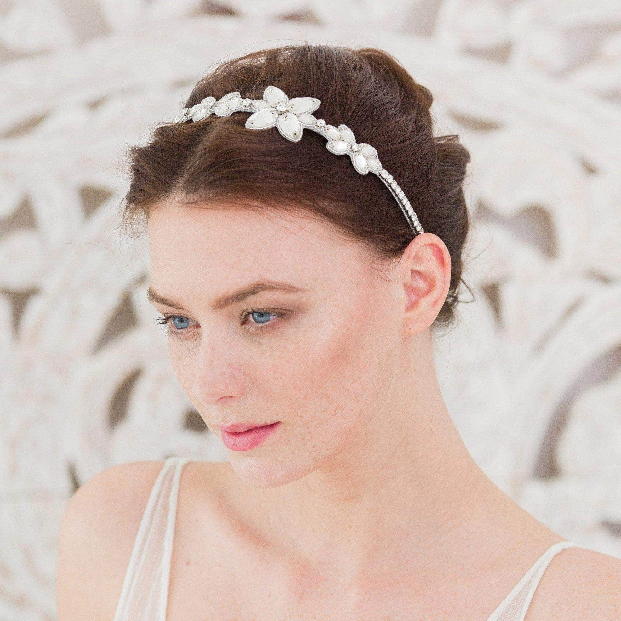 Wedding Headband Silver Crystal silver wedding headband 'Sage'