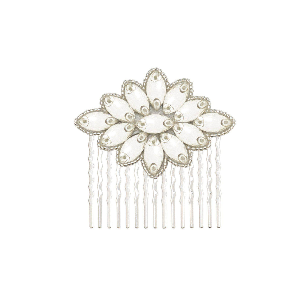 Wedding Haircomb Silver Wedding hair comb; art-deco crystals - 'Alena'