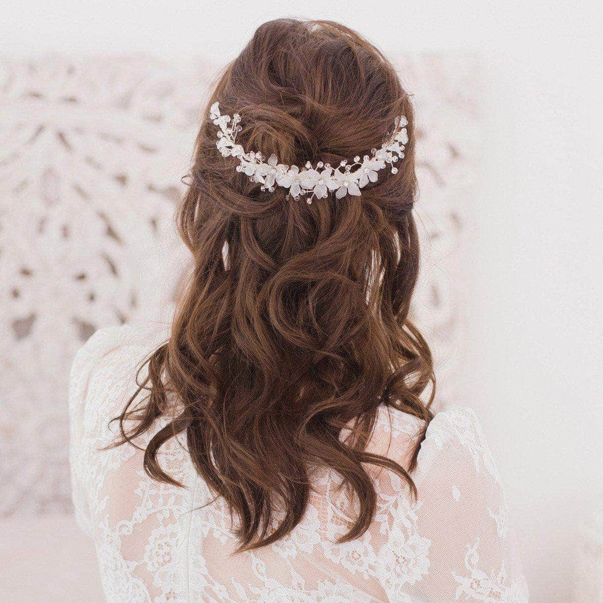 silver crystal floral wedding hair vine