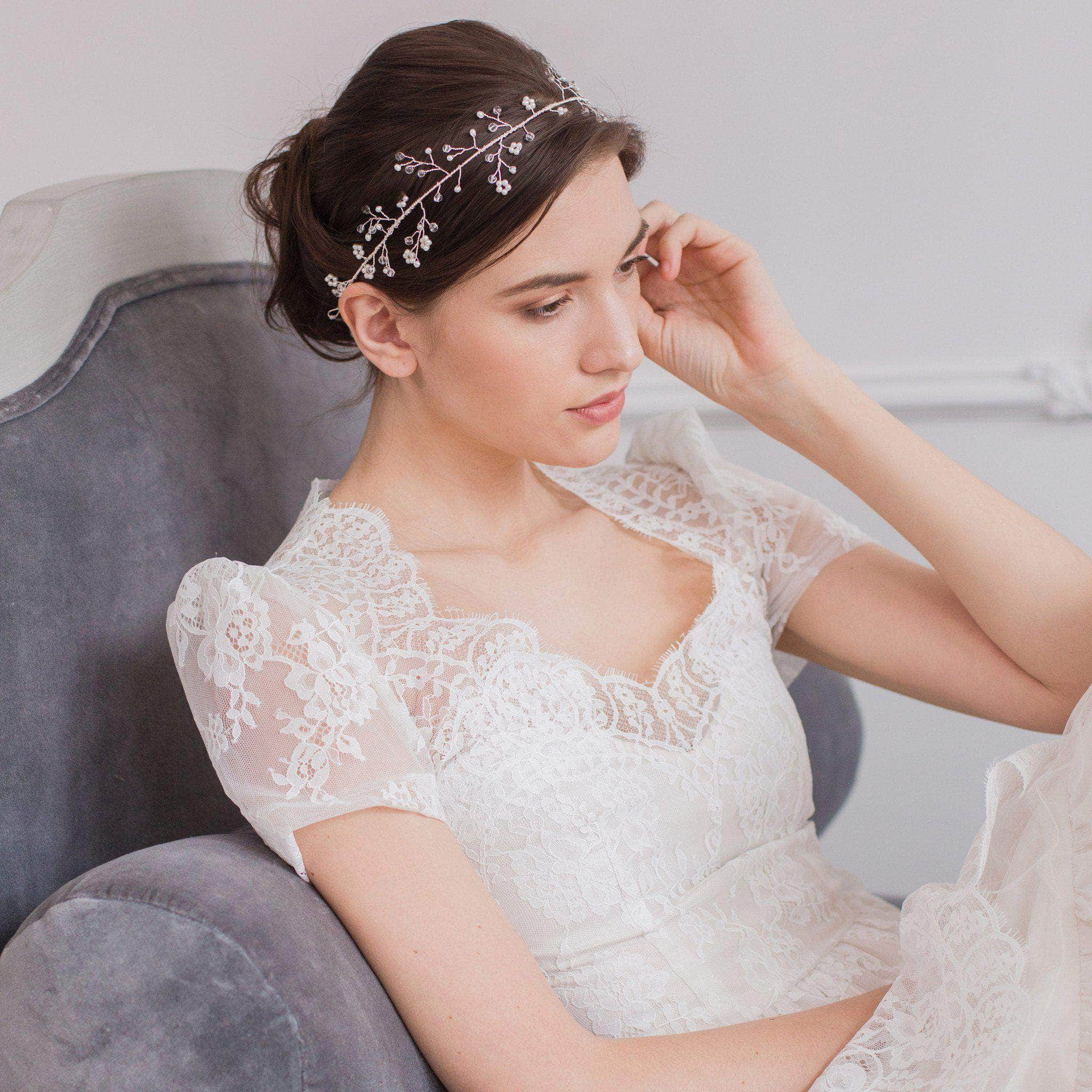 Wedding hair vine silver crystal and pearl - 'Avery' | Britten Weddings