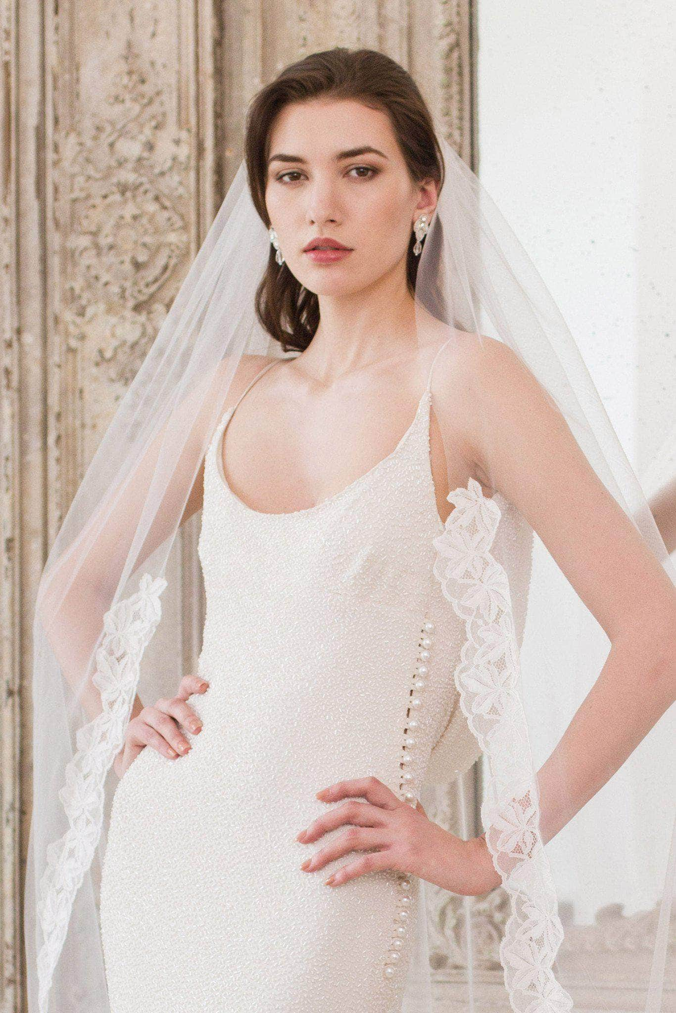 Wedding Veil Semi lace edged wedding veil - 'Calleva'