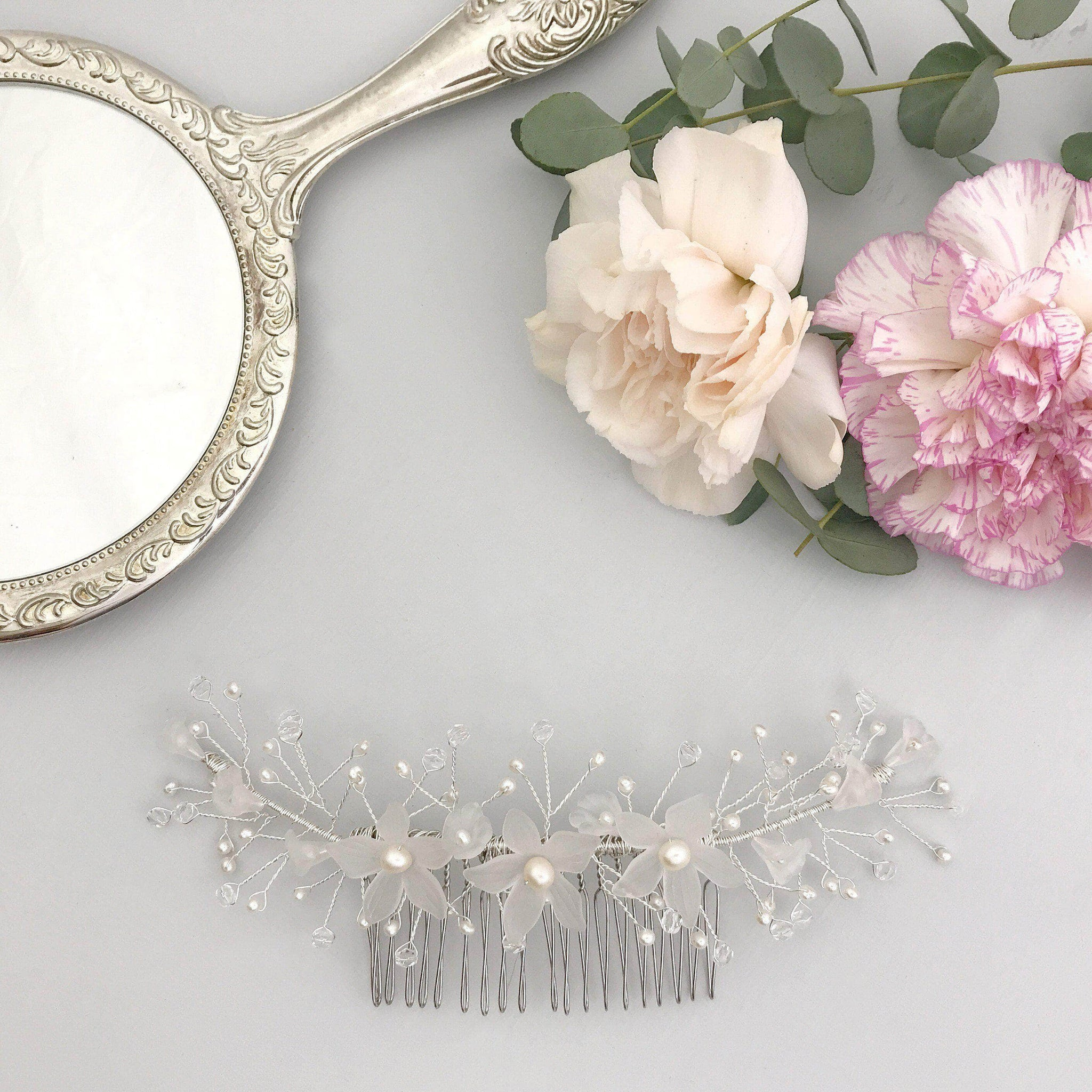 flower wedding hair comb vine