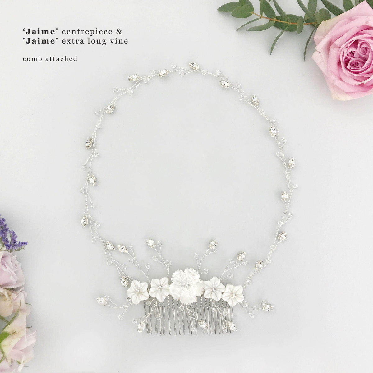 Wedding Hairvine Silver floral multipiece with large centrepiece  - 'Jaime'