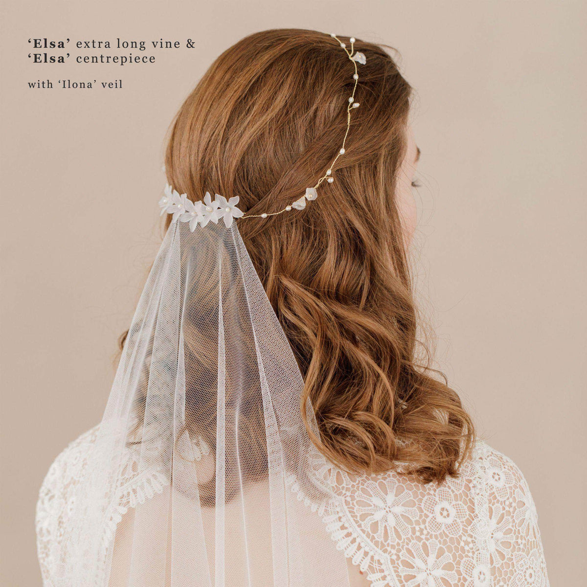 Wedding Hairvine Gold floral pearl multipiece - 'Elsa'