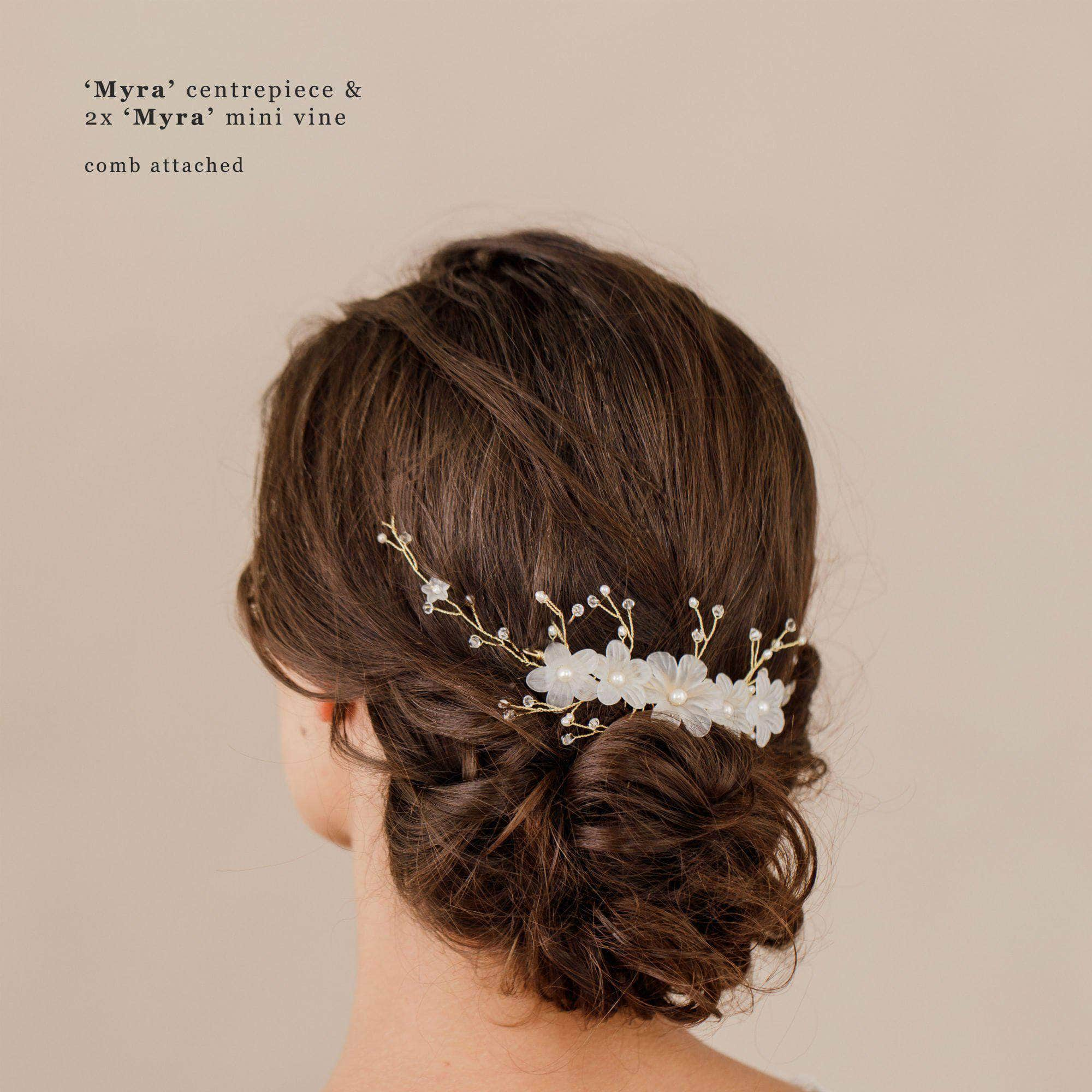 Wedding Hairvine Rose gold pearl multipiece with large centrepiece - 'Myra'