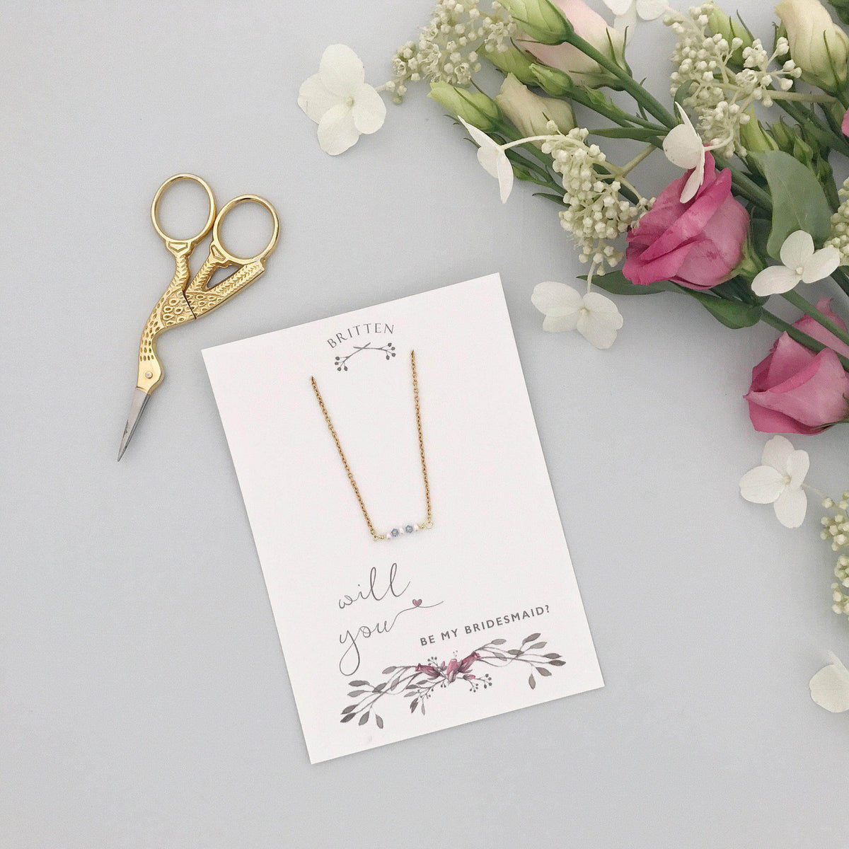 Bridesmaid Gift Gold Will you be my bridesmaid gift necklace - 'Mollie' in gold