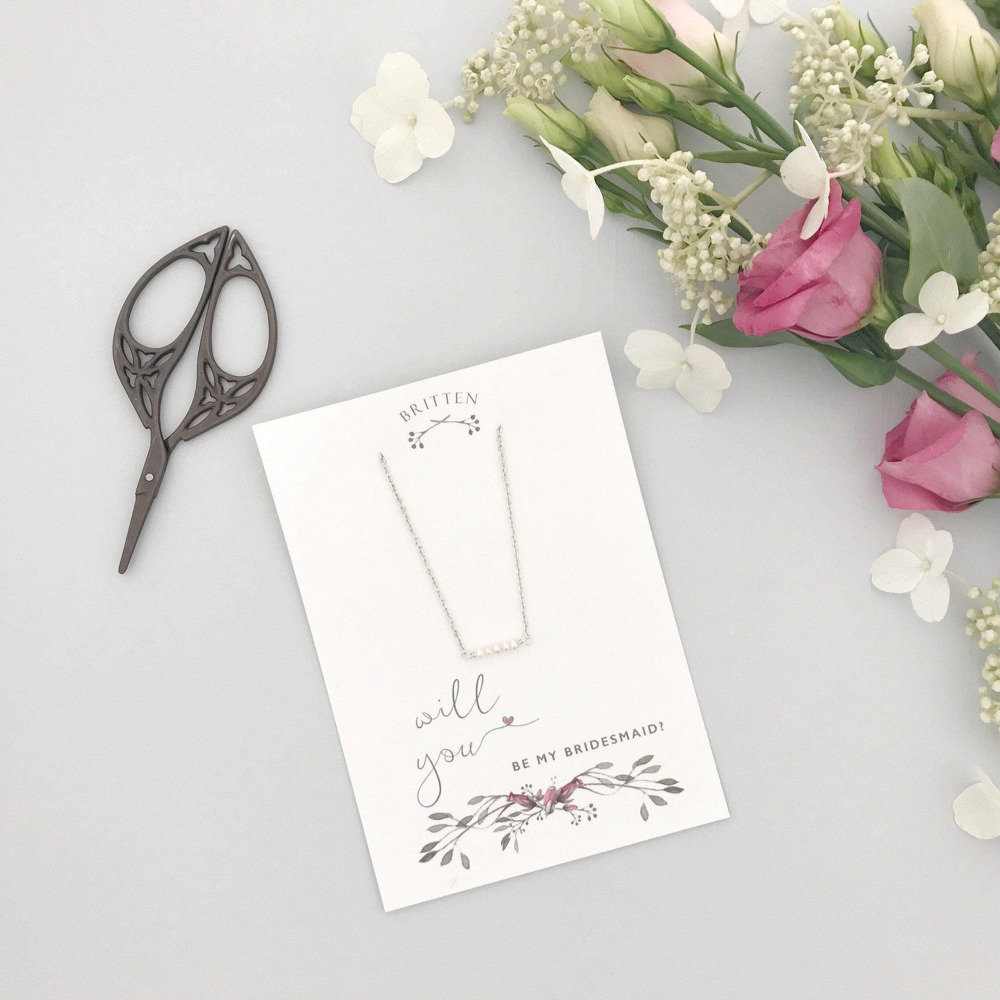 Bridesmaid Gift Silver Will you be my bridesmaid gift necklace - 'Freya' in silver