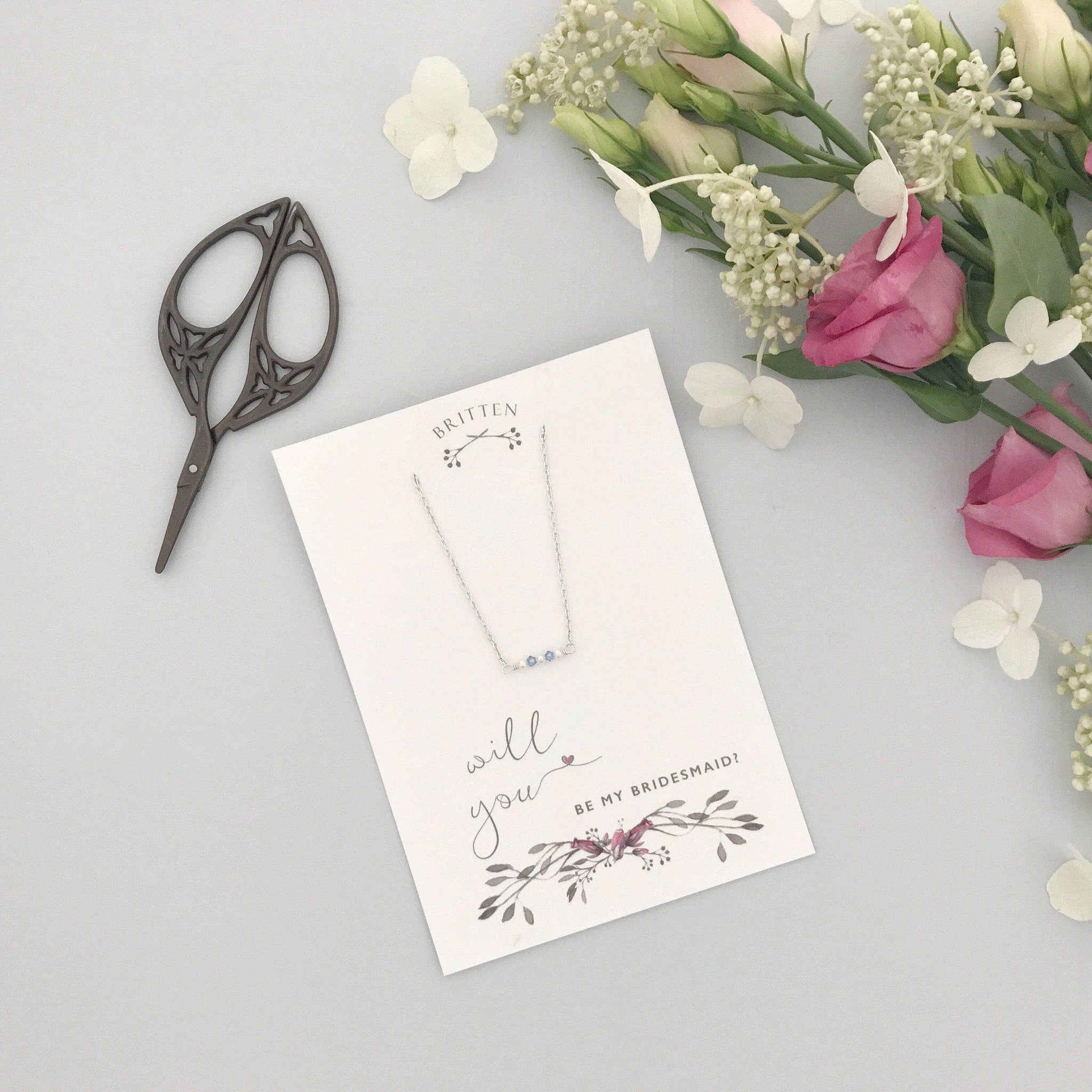 Will you be my bridesmaid gift necklace - 'Mollie' in silver