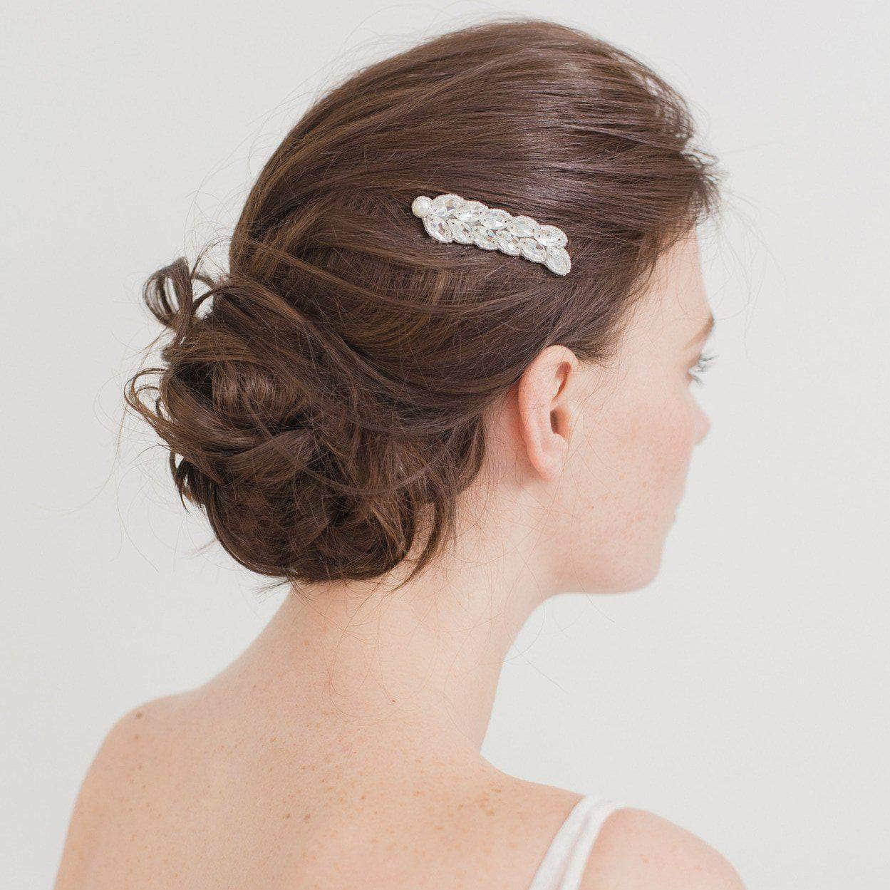 Wedding Haircomb Silver Bridal hair comb with a leaf style arrangement of crystals - 'Zara'