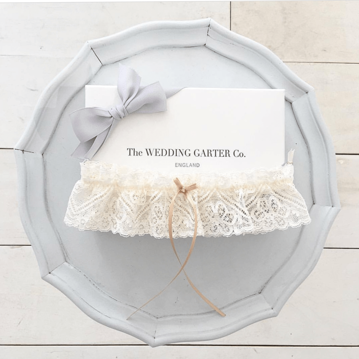 Champagne lace wedding garter