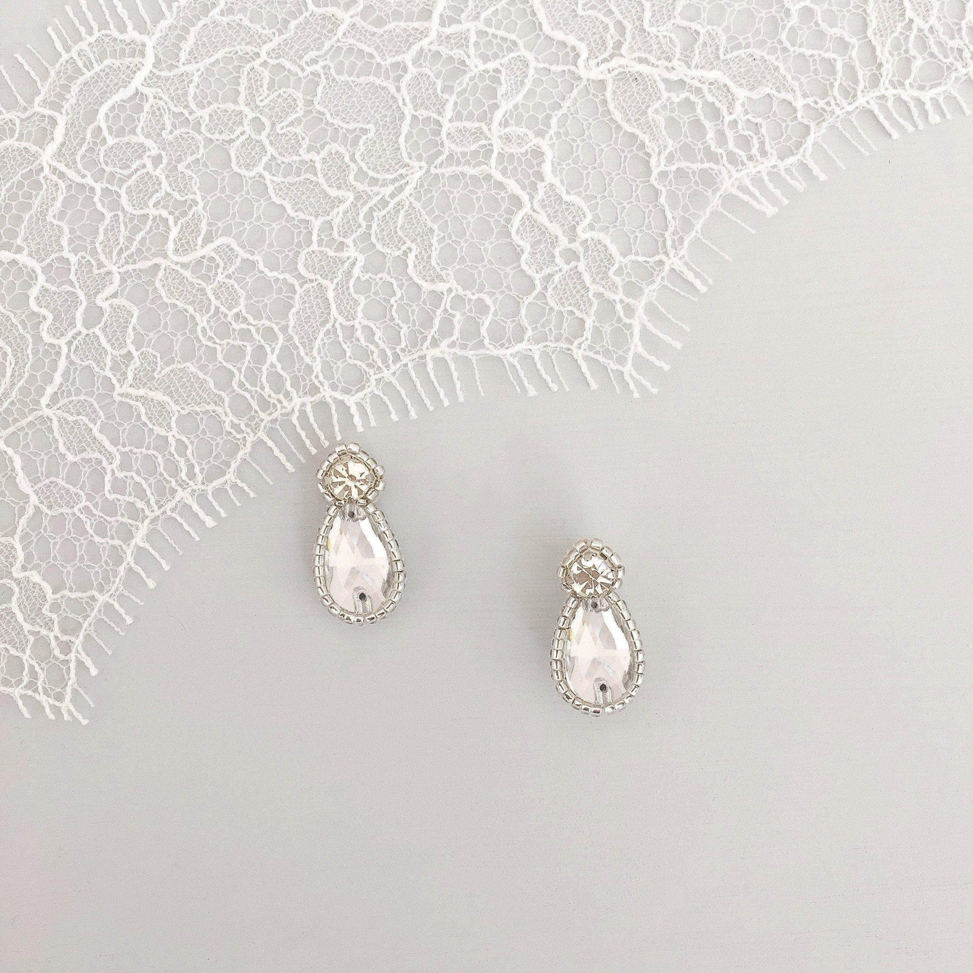 Wedding Earring Silver Crystal wedding earrings - 'Zoe'