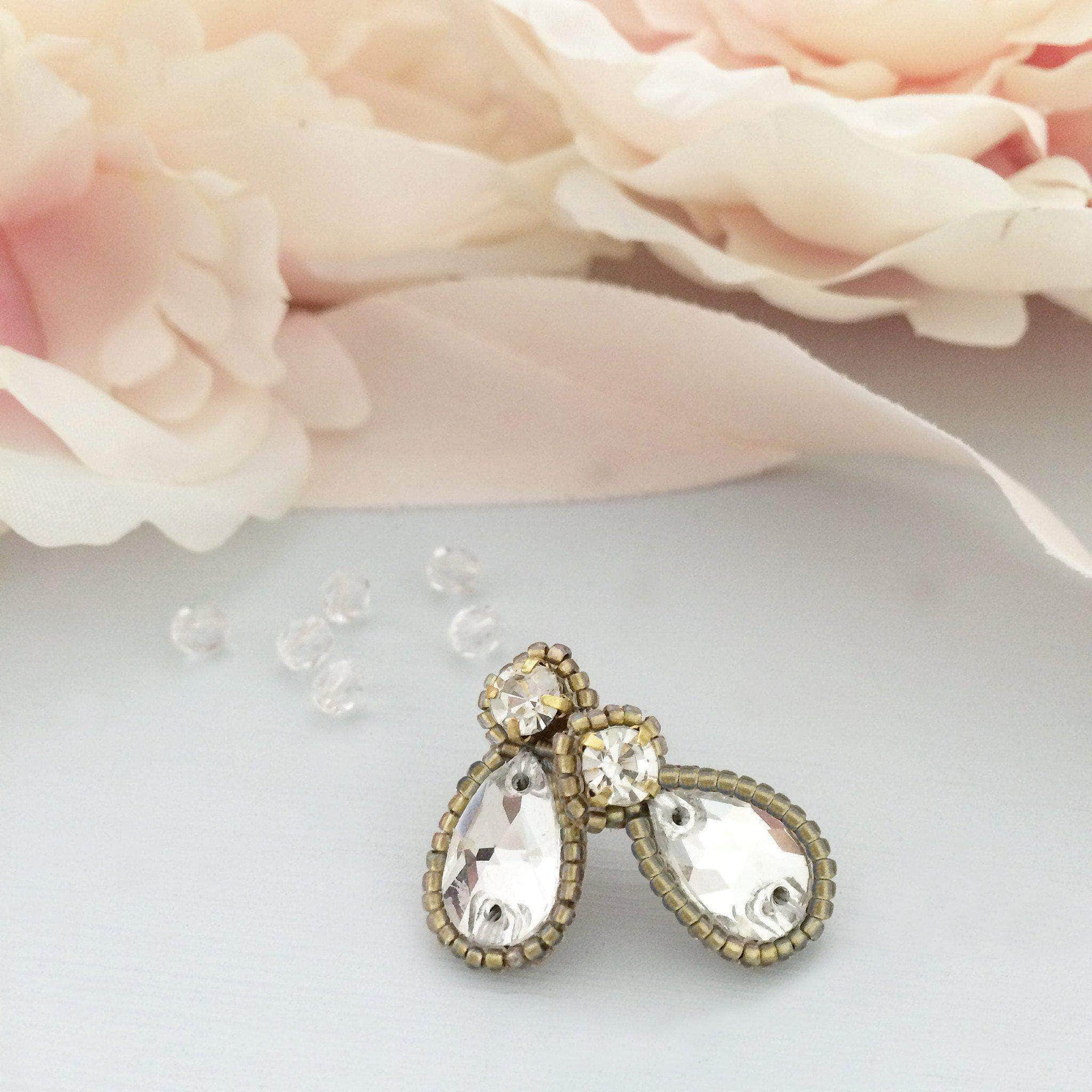 Wedding Earring Gold Crystal wedding earrings gold - 'Zoe'