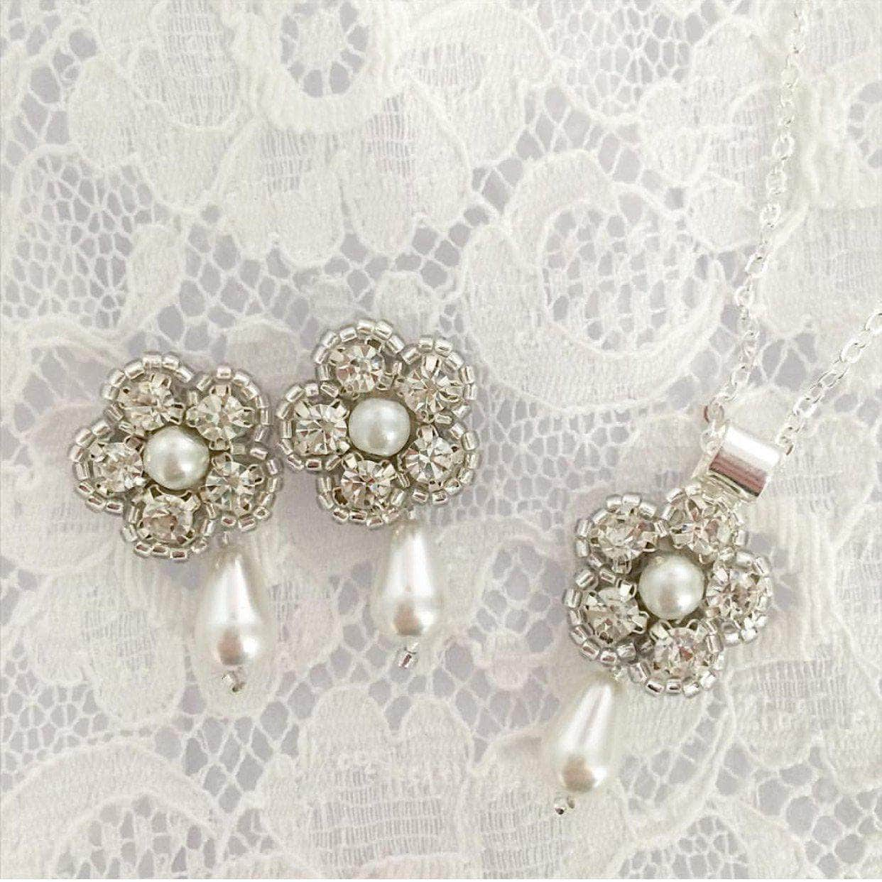 Wedding Earring Silver Pearl drop wedding earrings - 'Alexis'