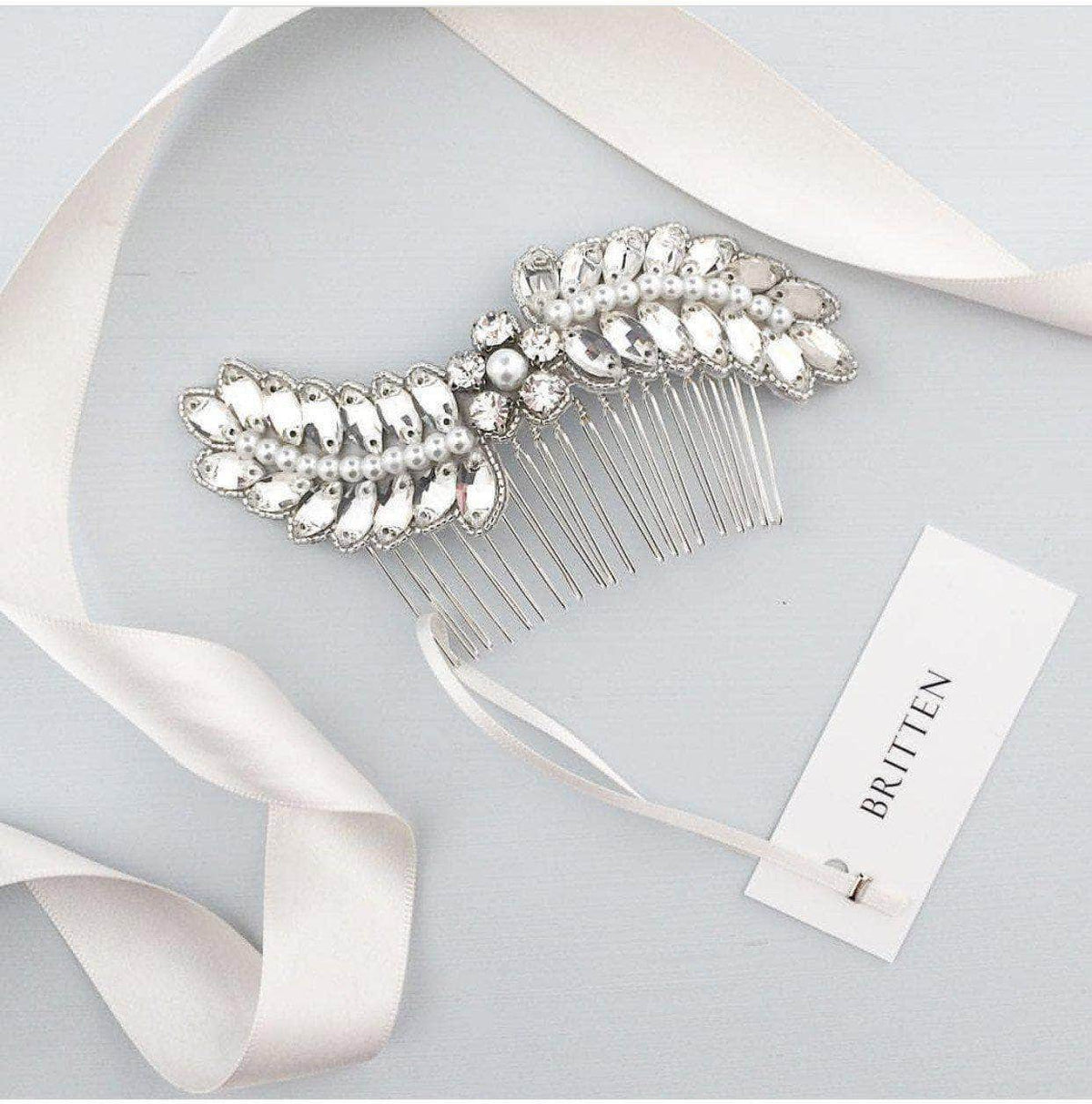 Wedding Haircomb Silver Wedding hair comb with crystals and pearls - 'Caris'
