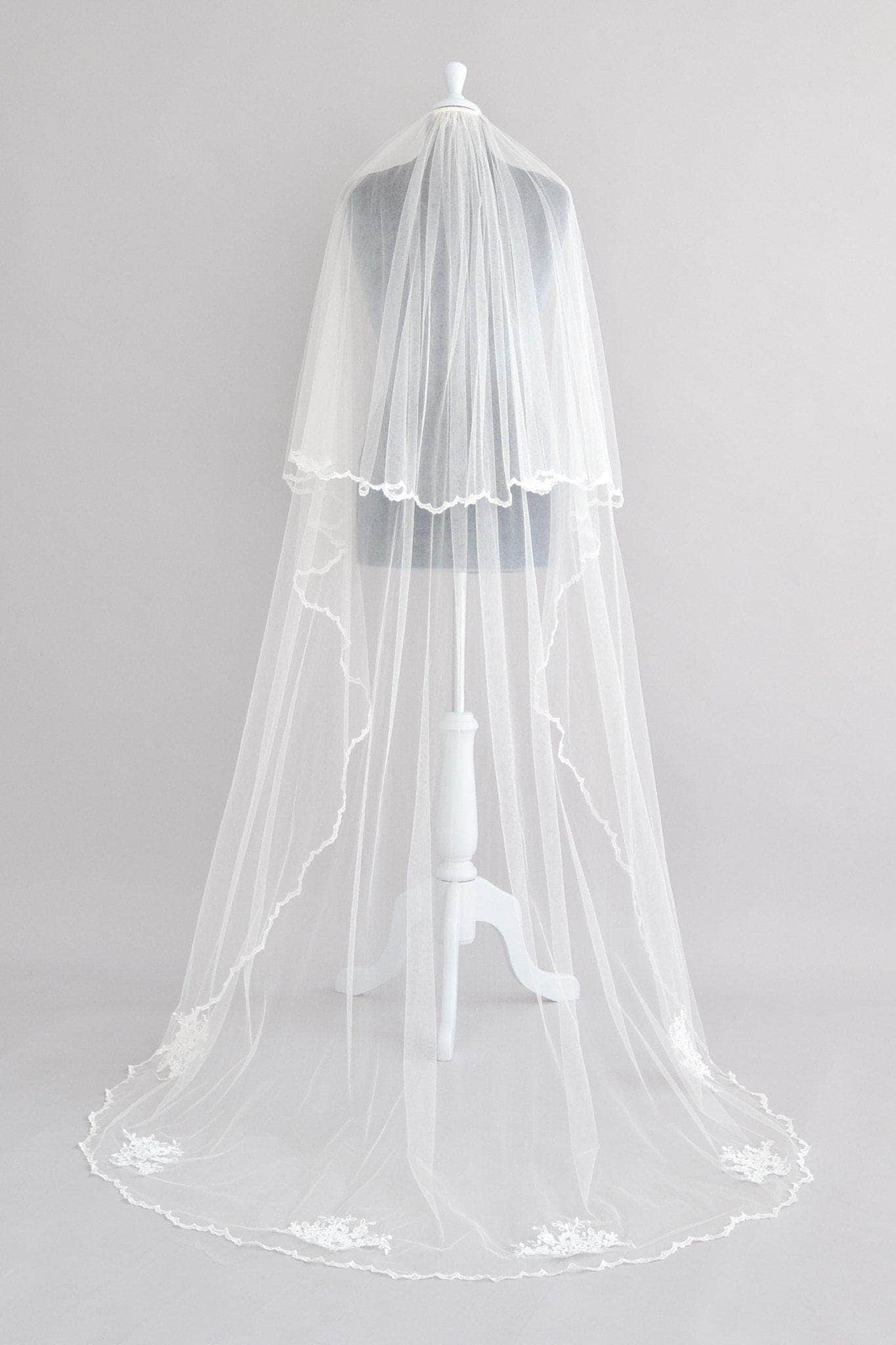 Wedding Veil Two tier wedding veil with delicate lace motifs- Margarette