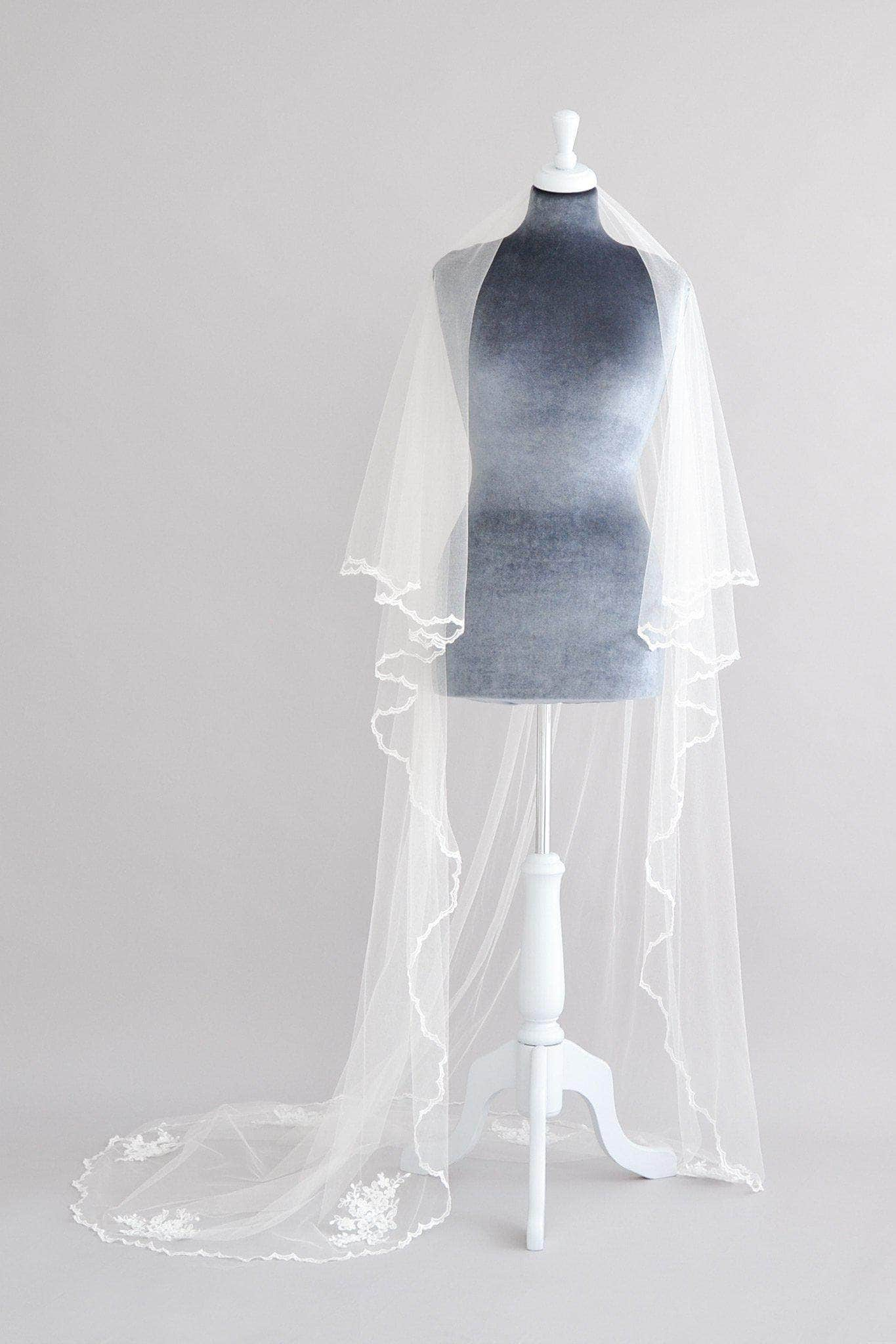 two tier wedding veil with lace motifs