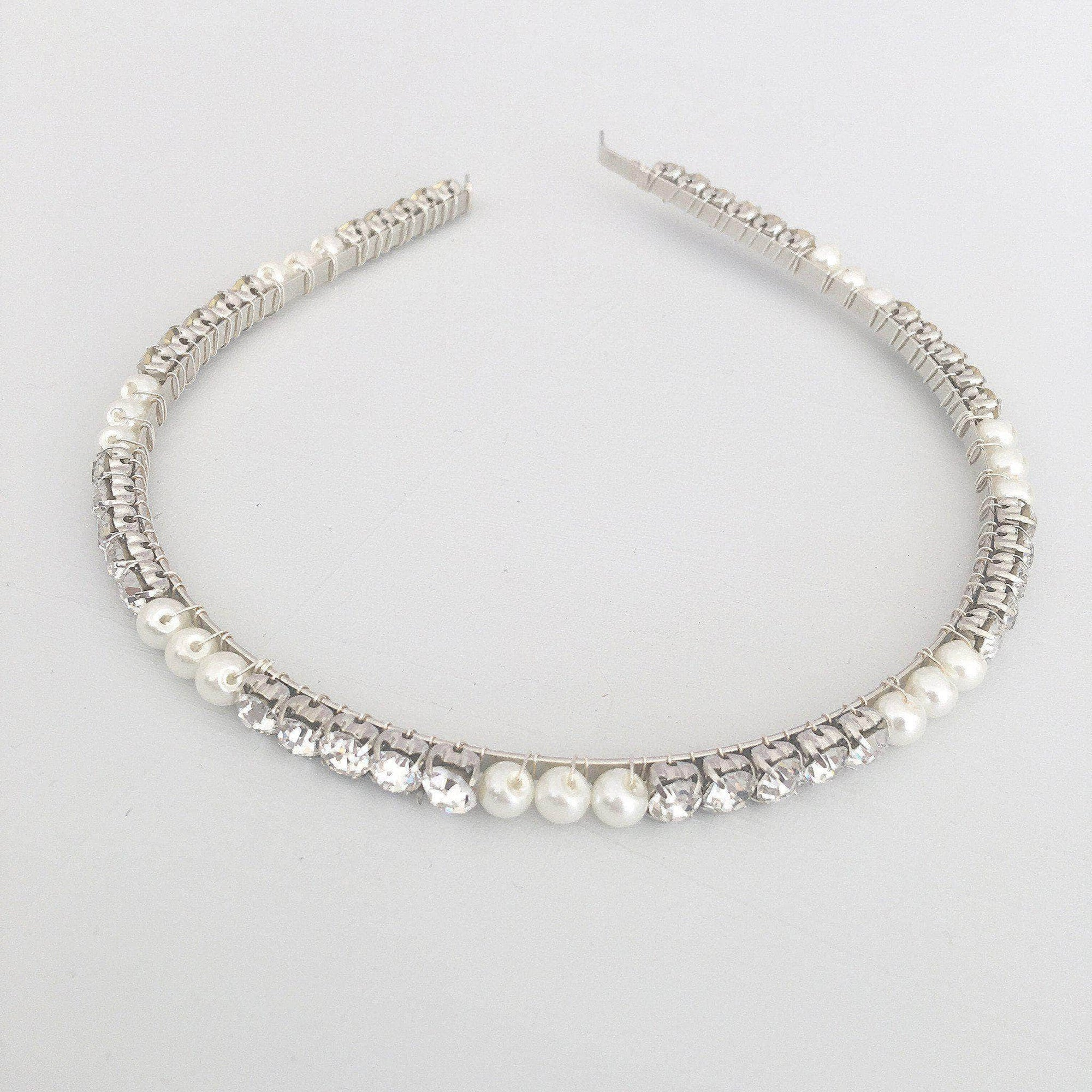 crystal and pearl wedding headband