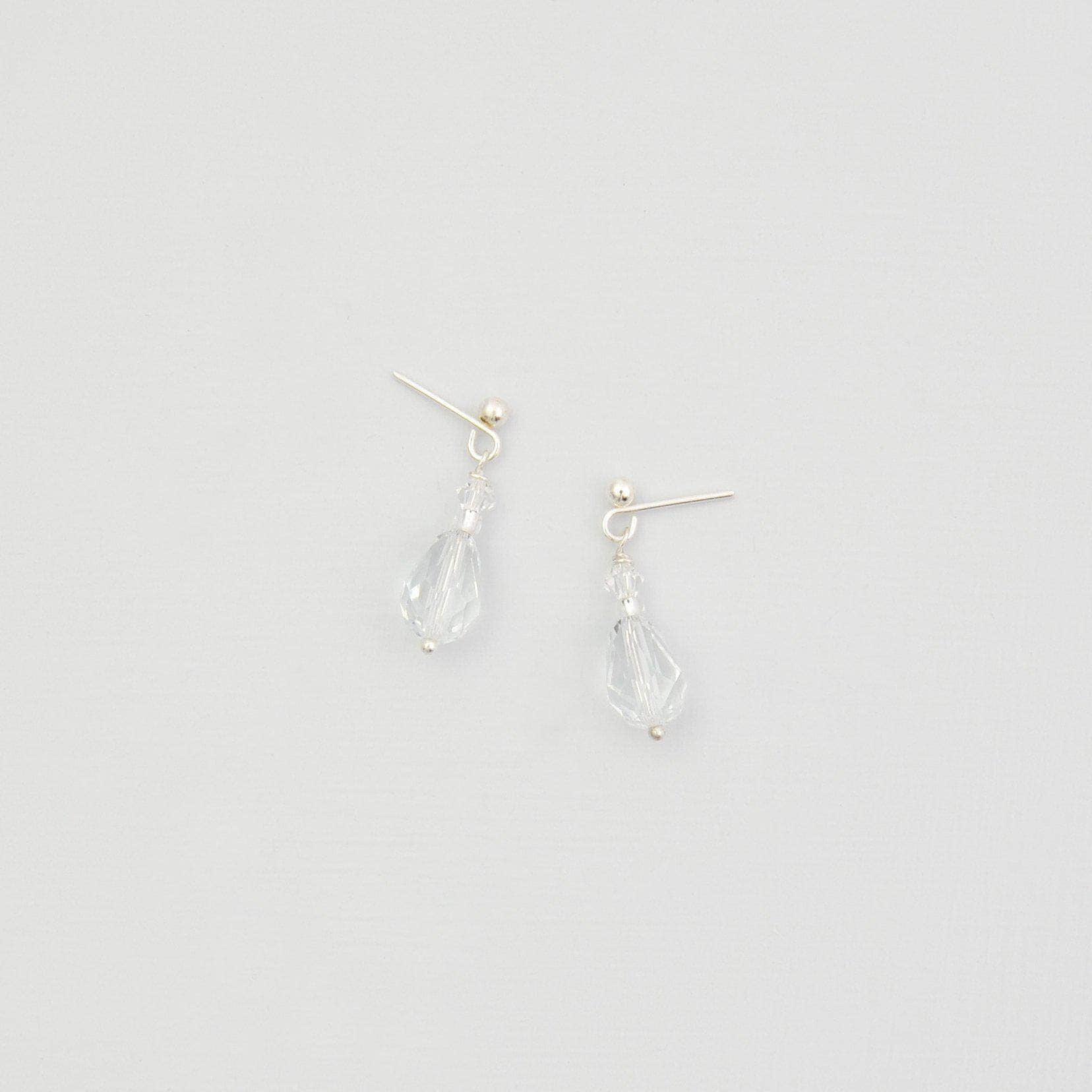 Wedding Earring Silver Crystal drop wedding earrings - 'Tia'