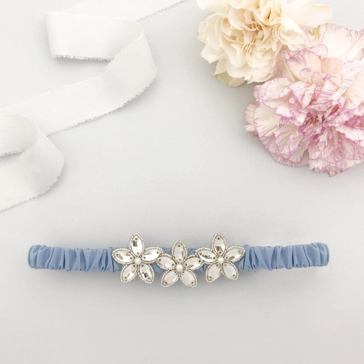 Wedding Garter Cornflower blue / Extra small 35-40cm (13.5-16 inch) Embellished silk wedding garter (various colours) - 'Joi'