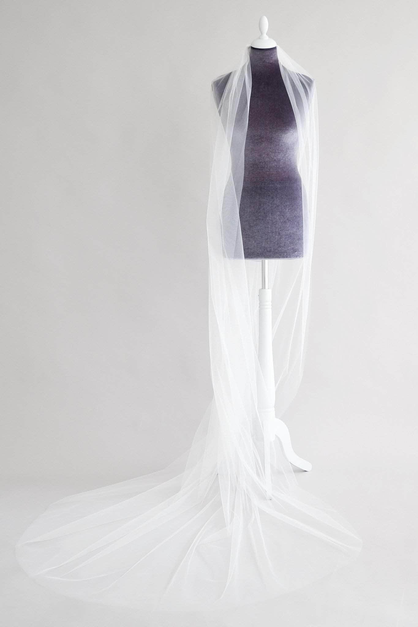 extra wide single tier veil