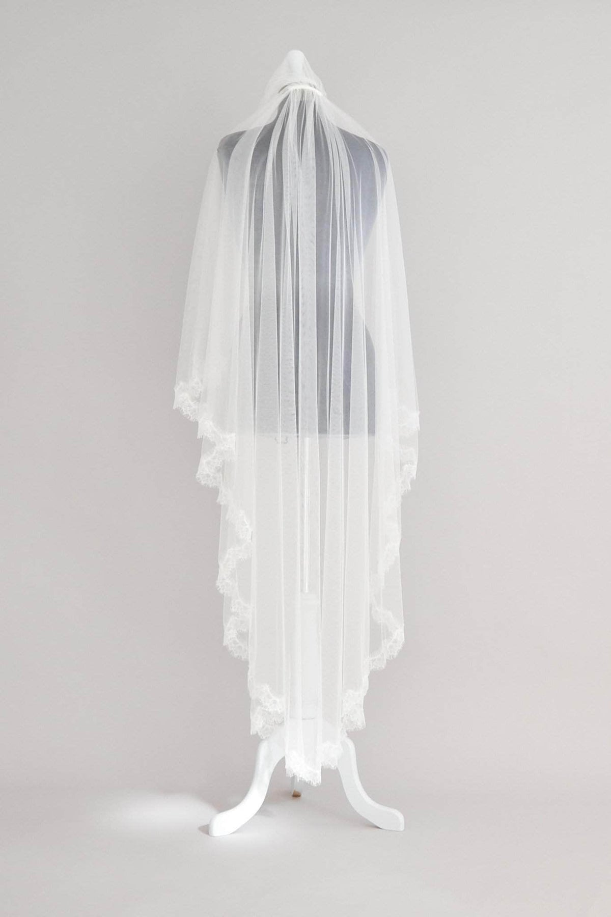 Wedding Veil Two Tier Silk Style Wedding Veil With French Eyelash Lace Trim- 'Mia'