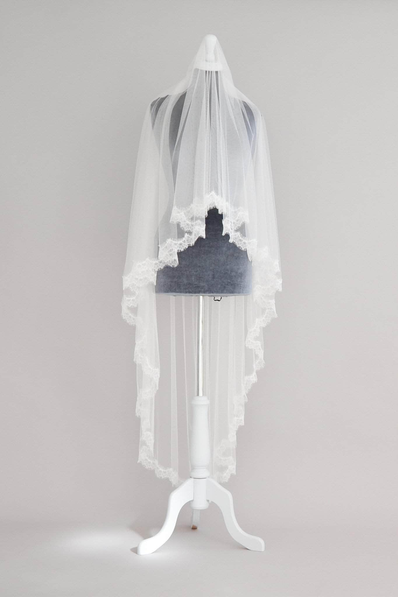 two tier eyelash lace veil