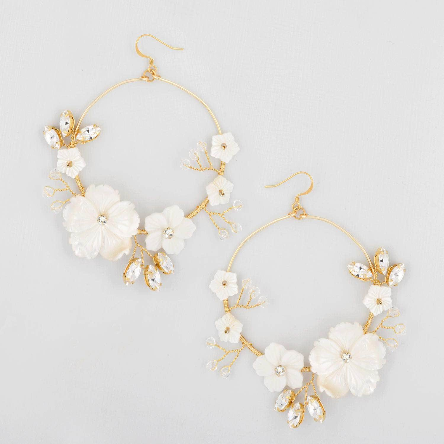 Wedding Earring Gold Statement gold floral hoop wedding earrings - 'Ariadne'