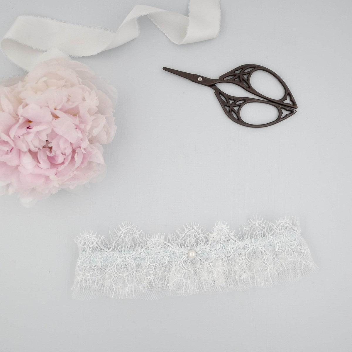 Wedding Garter Eyelash lace and 'something blue' wedding garter - 'Mia'