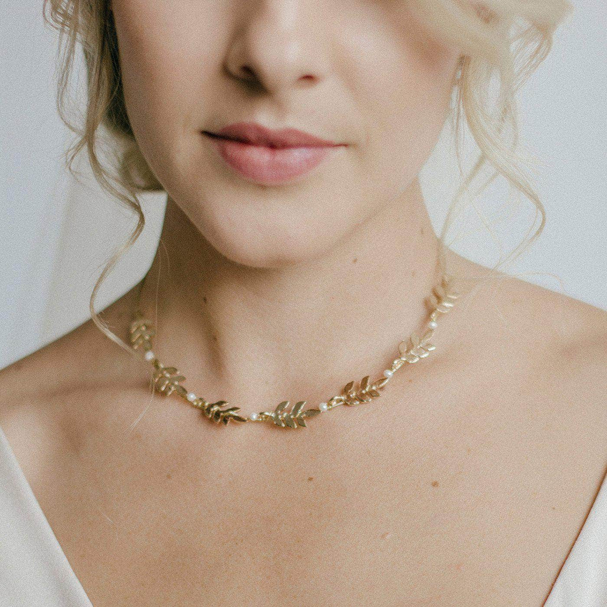 Wedding Necklace Gold Gold leaf wedding necklace with freshwater pearls - 'Avanie'