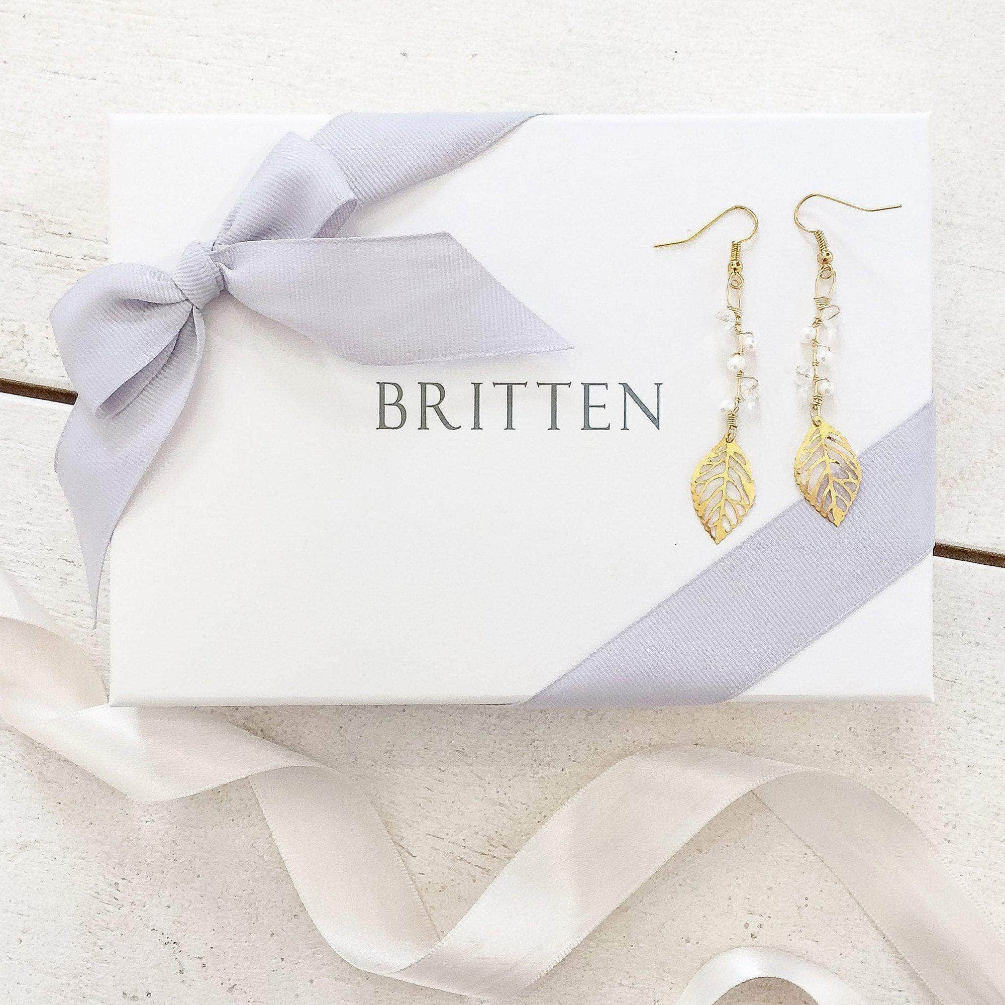 Wedding Earring Gold Gold leaf wedding earrings with crystal and freshwater pearl - 'Rain'