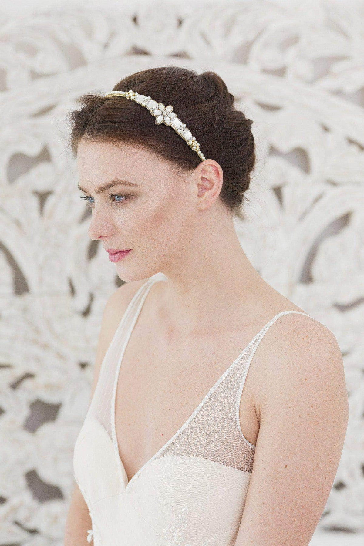 Gold crystal and pearl flower wedding headband- 'Honoria'