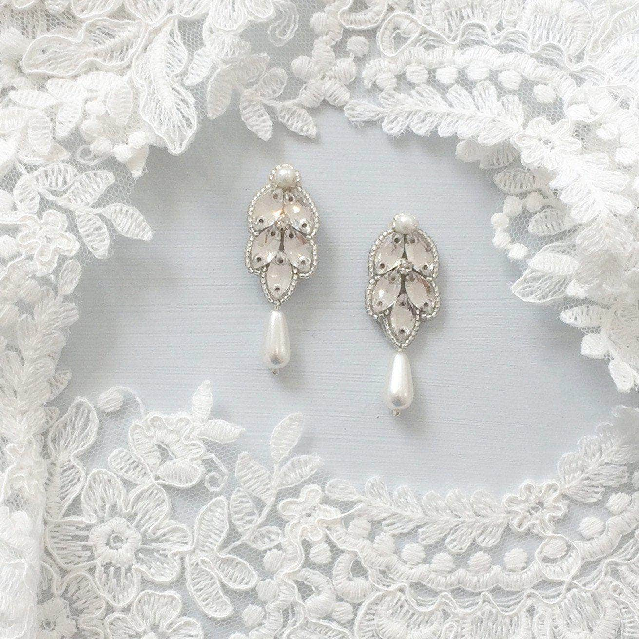 Wedding Earring Silver Wedding drop earrings silver, pearl & crystal - 'Iris'