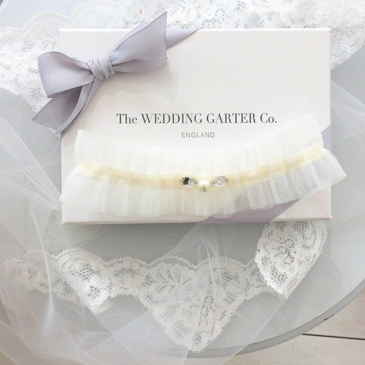 Wedding Garter Ivory / Extra small 35-40cm (13.5-16 inch) Tulle wedding garter (various colours) - 'Tallé'