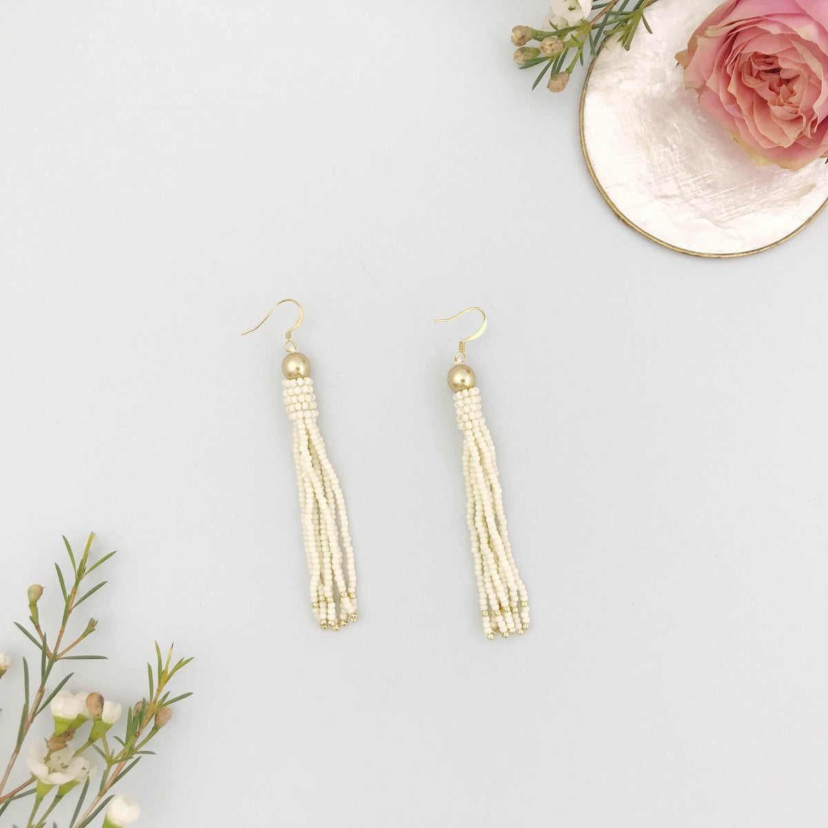 Wedding Earring Ivory and gold Gold and Ivory Tassel Earrings - 'Petra'